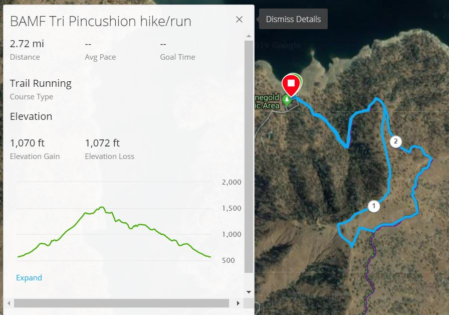 For the Garmin Connect interactive map of the Run/Hike Course, click    HERE
