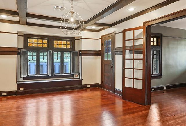 This Craftsman has so many of its original details including the stained millwork, original floors, windows, doors, and we were even able to reuse the claw foot tub in the Master Bathroom. The last three pictures are BEFORE pics.  #interiordesign #nolaarchitecture #historichomes #historicinteriors #preservation