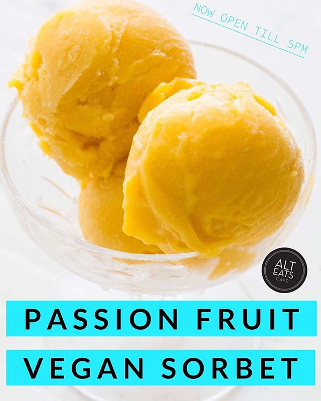 Stop By This Saturday for Passion Fruit Sorbet! Refreshing on a Hot Day!  100% Vegan and Delicious.  See You Today!