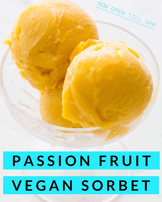 Come Try Our Passion Fruit Sorbet.  100% Vegan