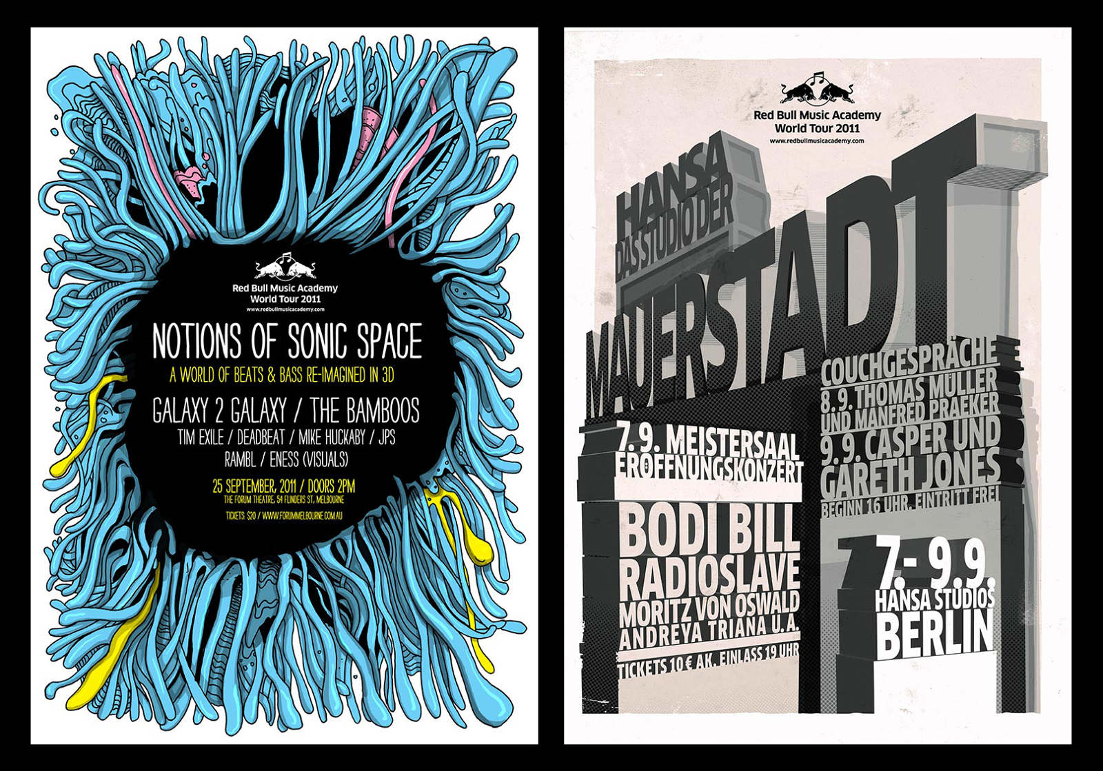 Posters from the Red Bull Music Academy tour project.