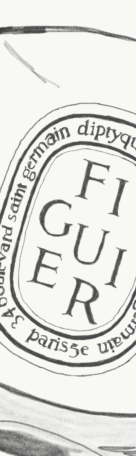 Diptyque's  Figuier    candle label.