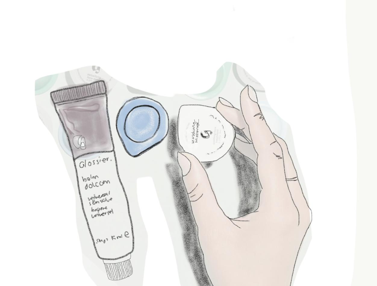 Glossier's  face masks  &  Balm Dot Com .