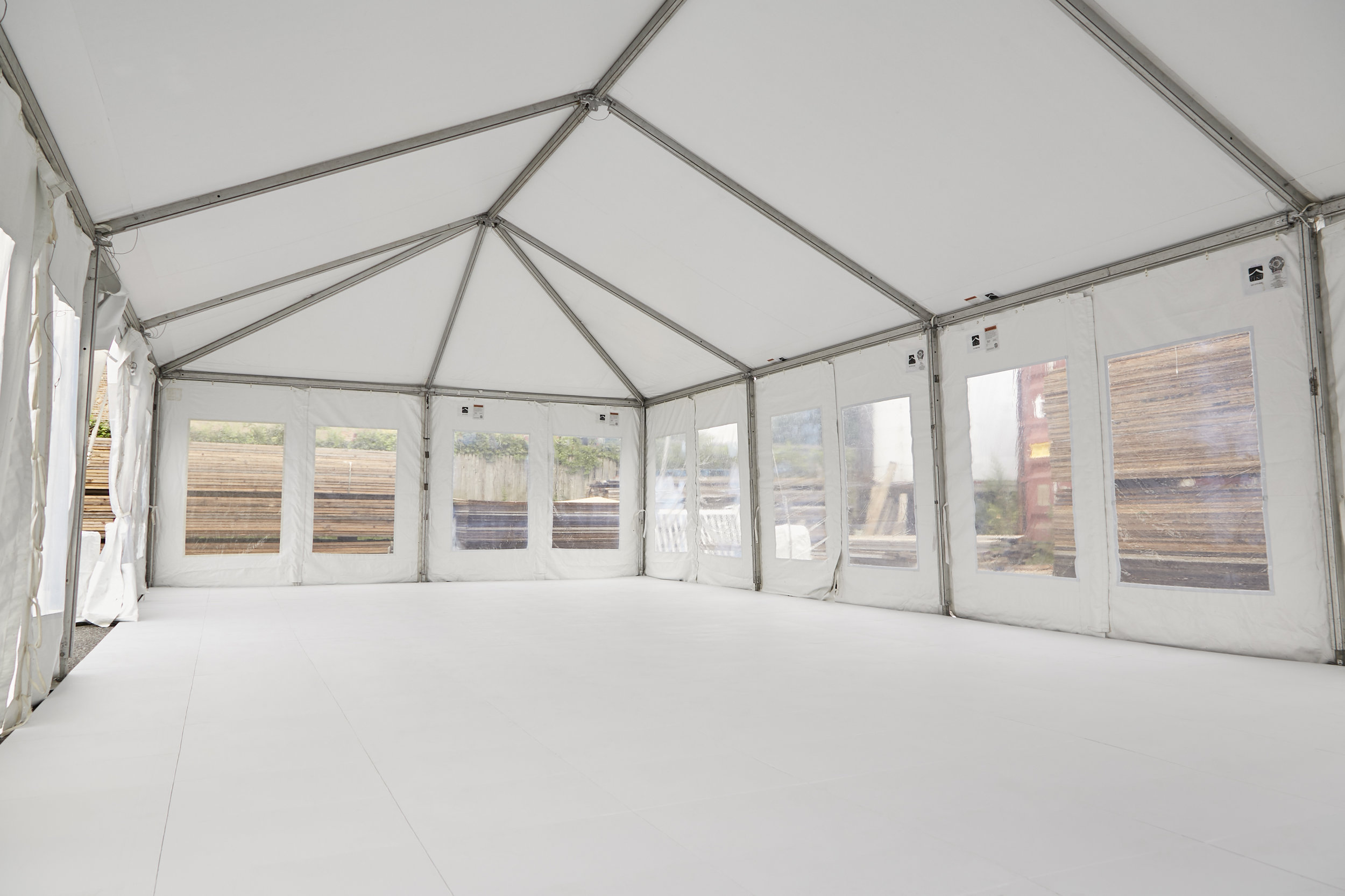 Ideal as tent flooring and provides a more finished look than alternatives, with a streamlined top surface that contains no visible clips or branding.