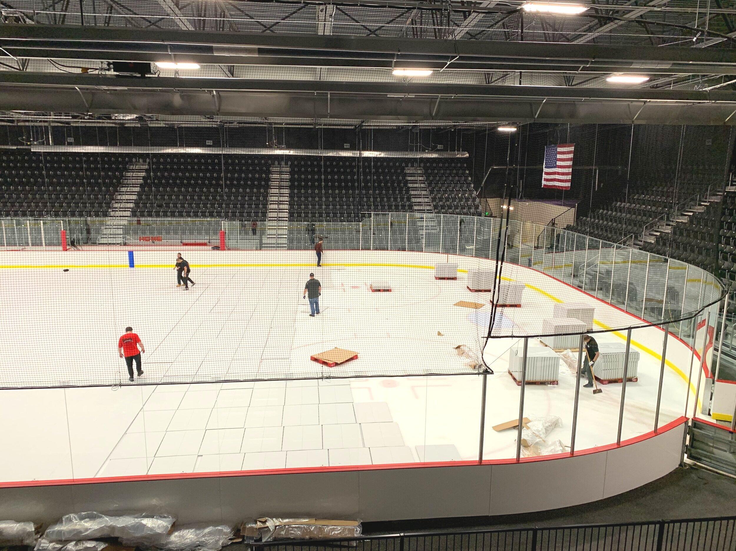 Installing ice rink floor