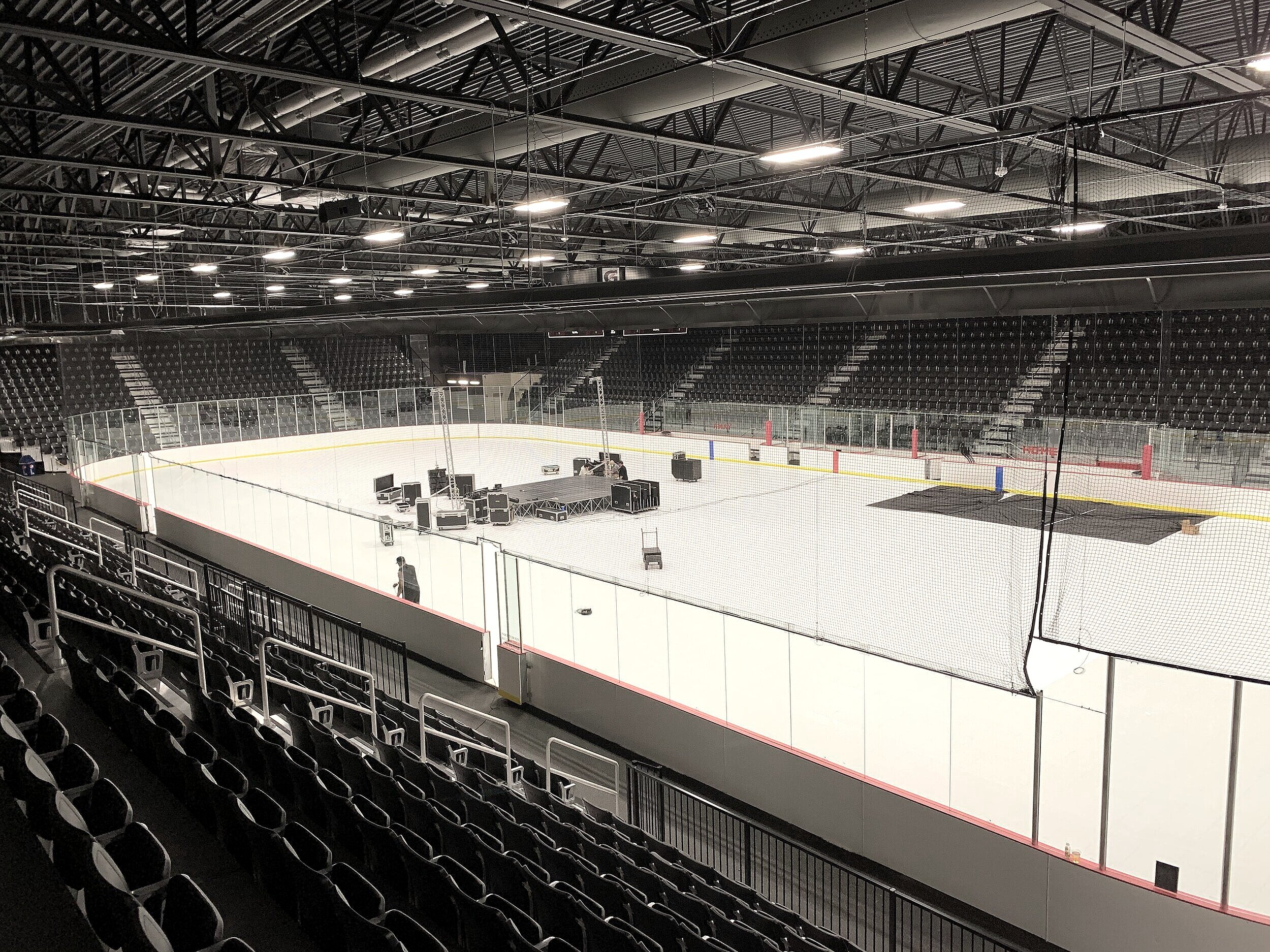 Install stages, trade show booths and other materials on top of the arena flooring.