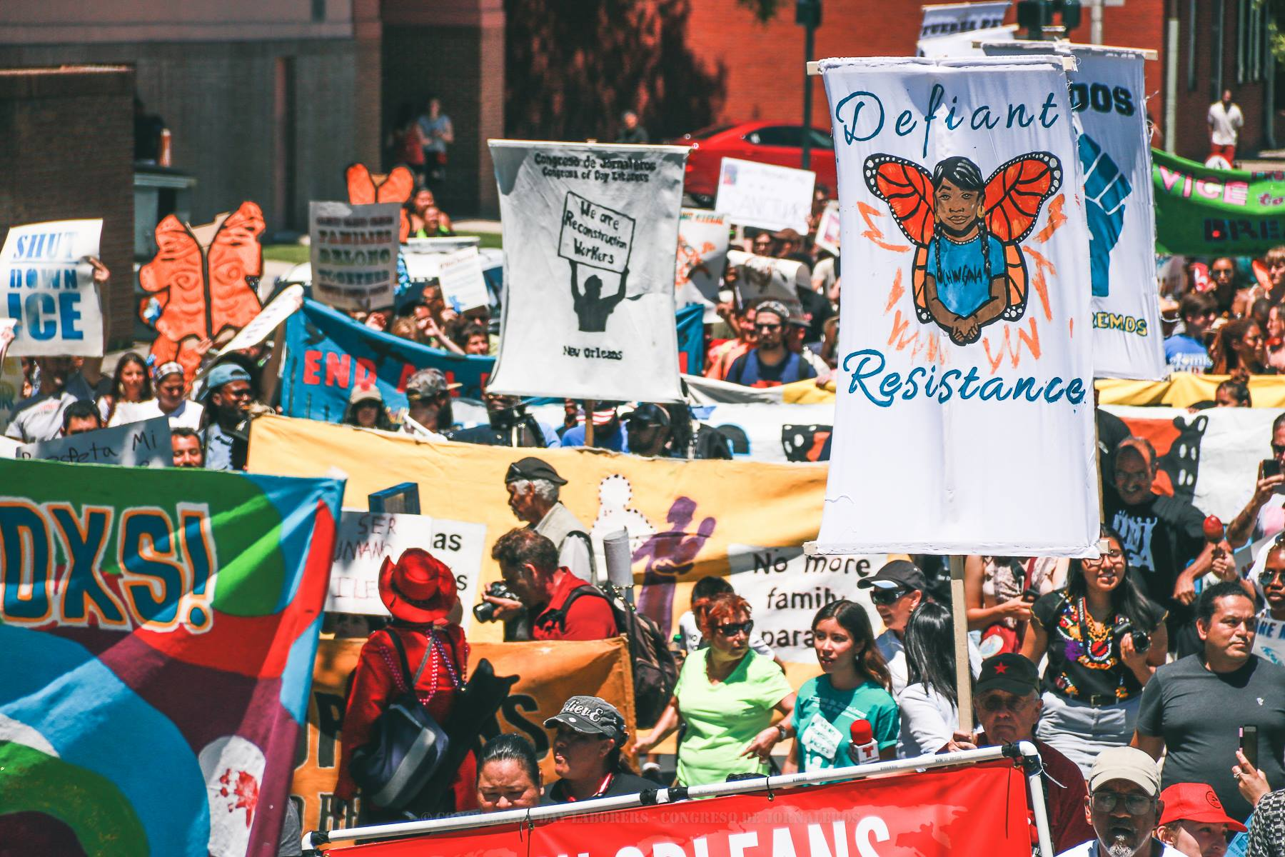 Examples of collaborative banner work with the  New Orleans Workers' Center for Racial Justice  and  Congreso de Jornaleros (Congress of Day Laborers) . Photo by  Fernando Lopez .