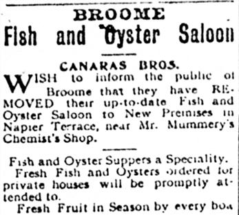 - Broome Chronicle 20 November, 1909.