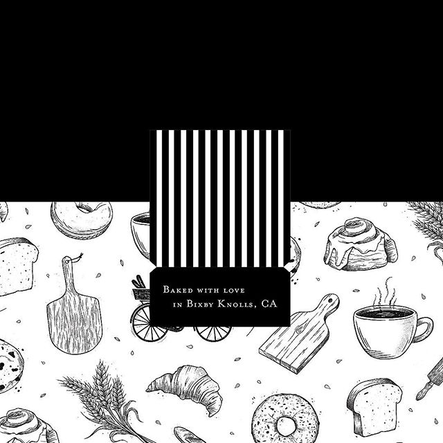 ✨Sneak peak✨ of some packaging design we're doing for an LA bakery. Stoked to see this go to print! 🍩🥐🍪🥖 #packagingdesign #printdesign . . . . #graphicdesign #branding #illustration #woodcut #bakedgoods #print #blackandwhite #food #packaging #brand #foodpackaging #design #marketing