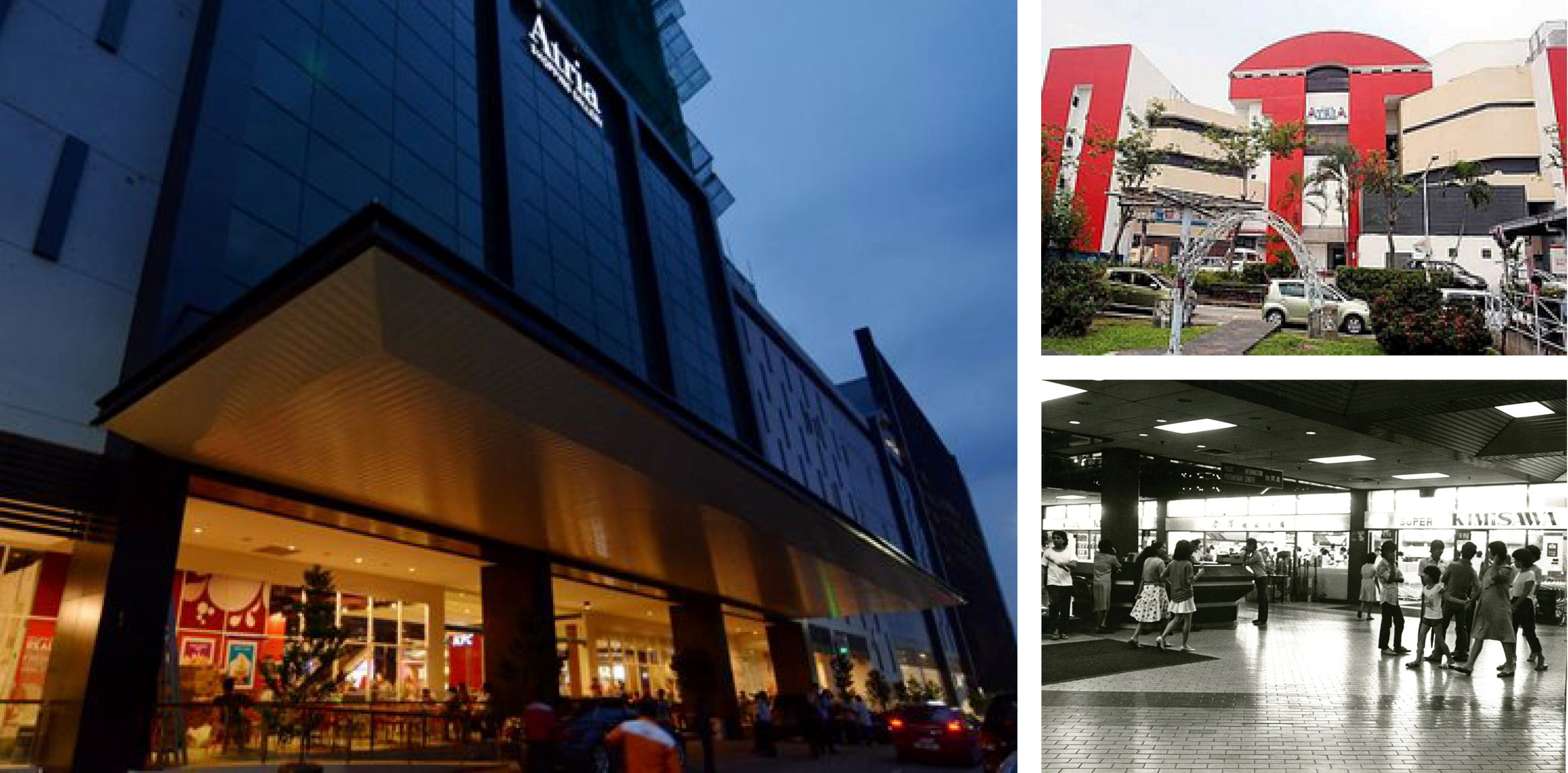 Above: Atria Shopping Gallery today—a total transformation in all aspects. Top right: Atria in the 80s, known for its infamous Piccadilly Discotheque, fashion-forward Printemps department store, and Kimisawa (bottom, right), Malaysia's first Japanese supermarket.