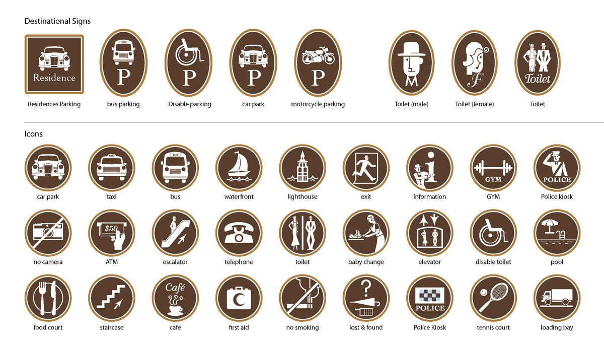 The graphic style of the pictographs range from 1920 to present day, where the old and the new co-exist harmoniously.