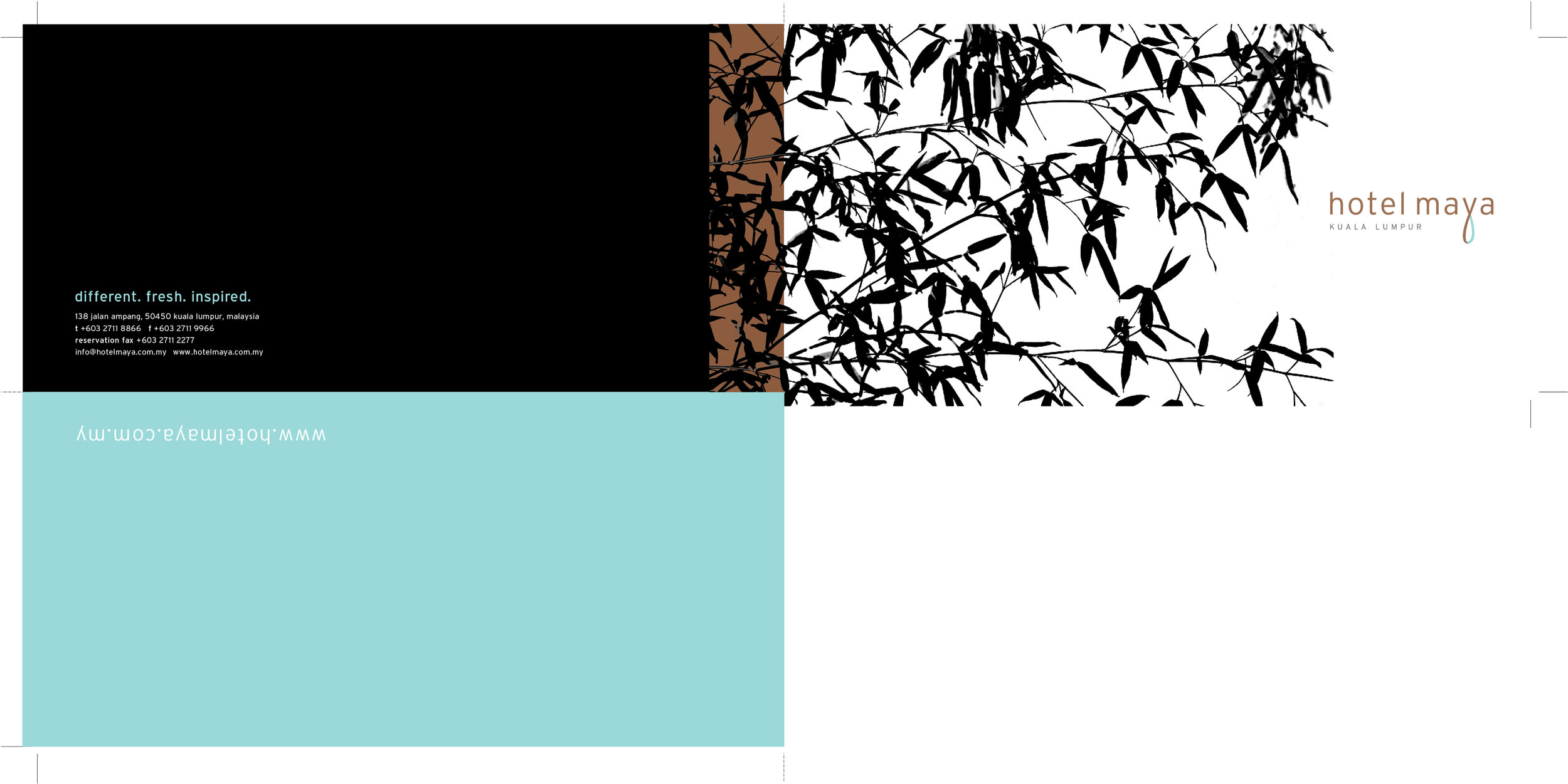 Simplicity and sophistication expressed through a restricted colour palette of bronze, eggshell blue and black for the hotel's main brochure.