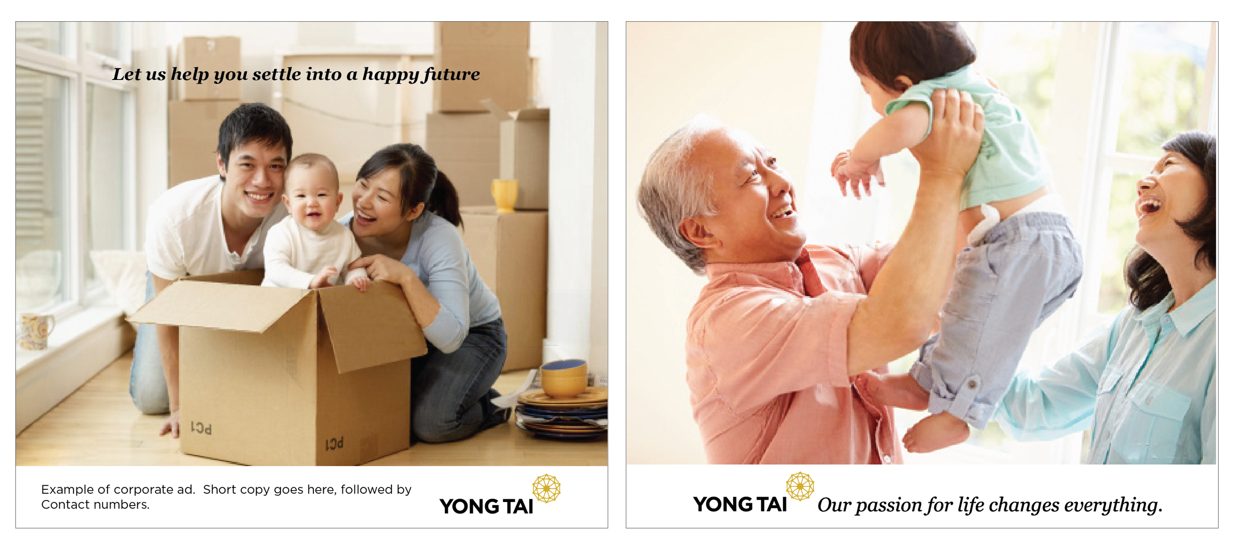 Pages from Yong Tai's visual identity guidelines