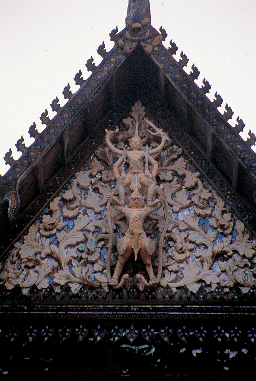 Vishnu the Preserver, the best loved of all the Hindu gods, mounts Garuda. This is a common motif on the gables of Thai and Cambodian Buddhist monasteries. Photo: Siem Reap, Cambodia