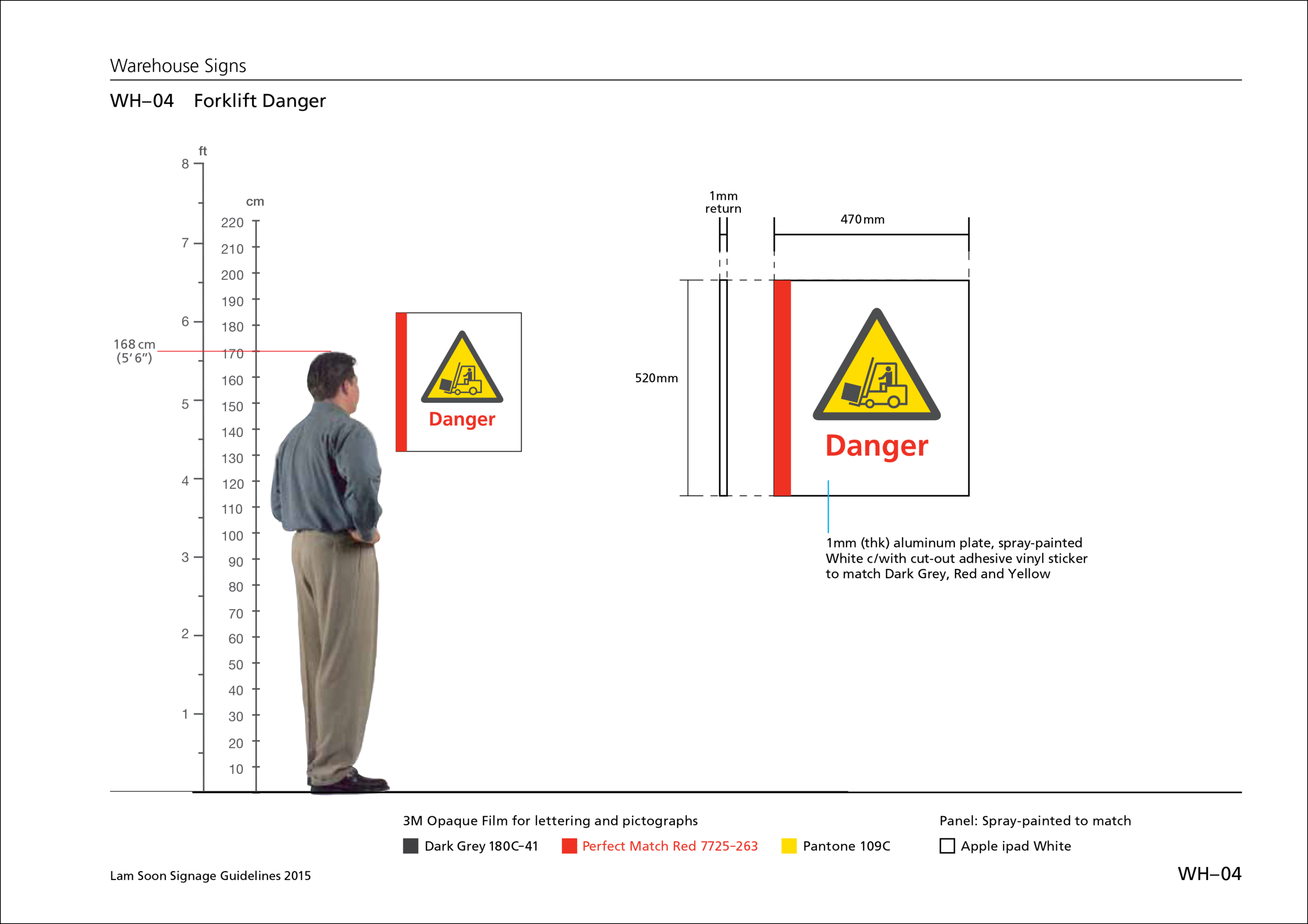 With various potential hazards at the warehouse, such as forklifts constantly traversing along the aisles,workers' safety was a priority that had to be addressed with well-placed caution signs and floor markings.