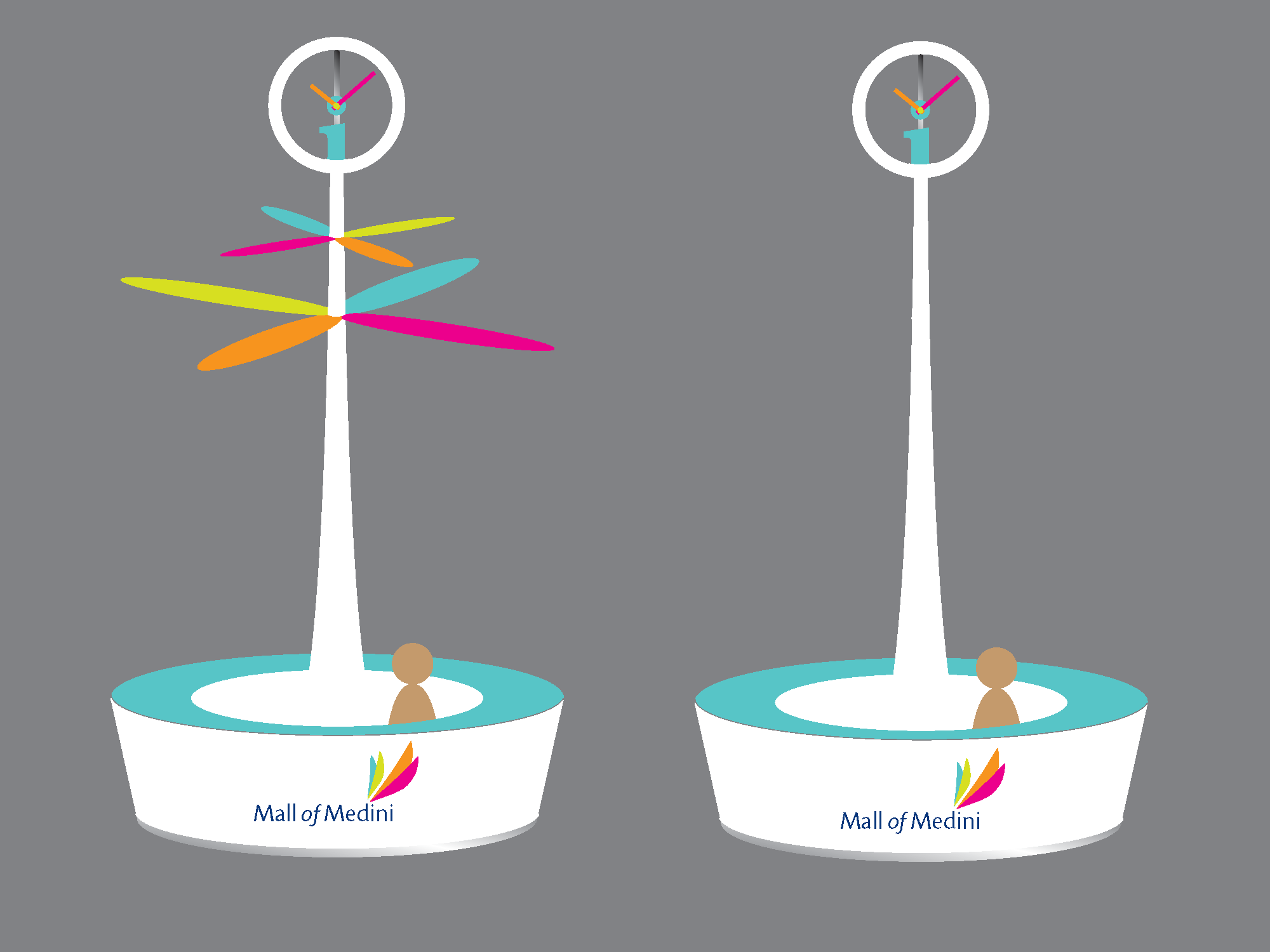 The original design with two propeller fans and a clock which takes on the Mall's visual identity was not executed due to budget constraints.