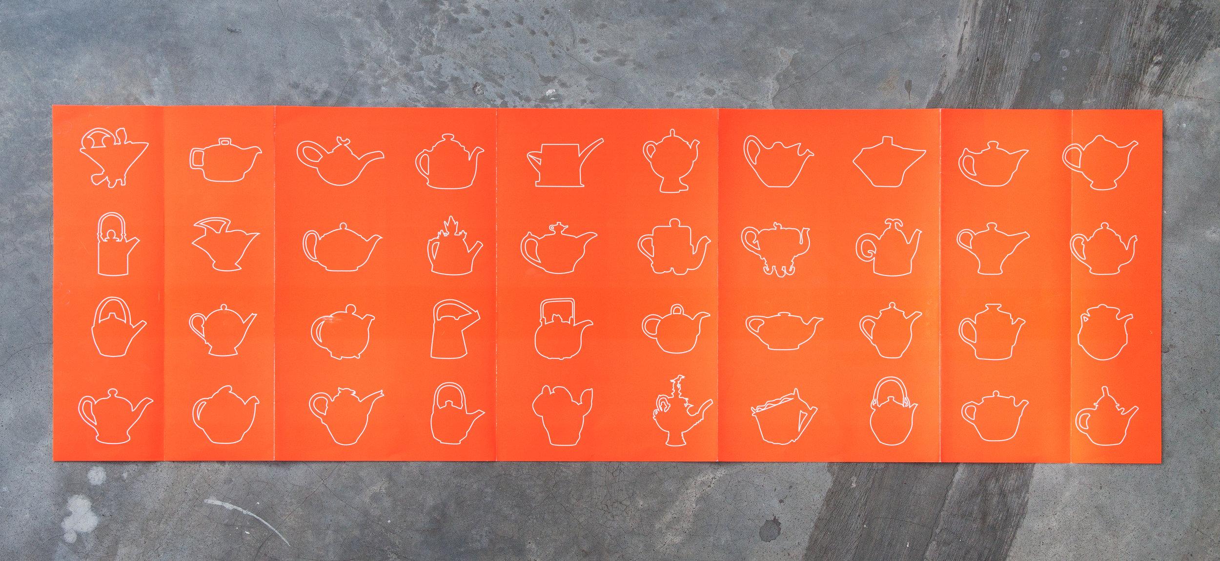Leaflet back (open)—printed in matte Brilliant Fluorescent Orange with gloss UV varnish for the outline of tea pots.