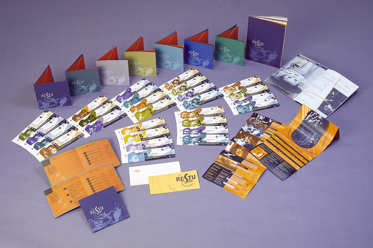 Colour-coded tickets and invitation cards for the 4th Sutra Festival,  Restu  (1995).