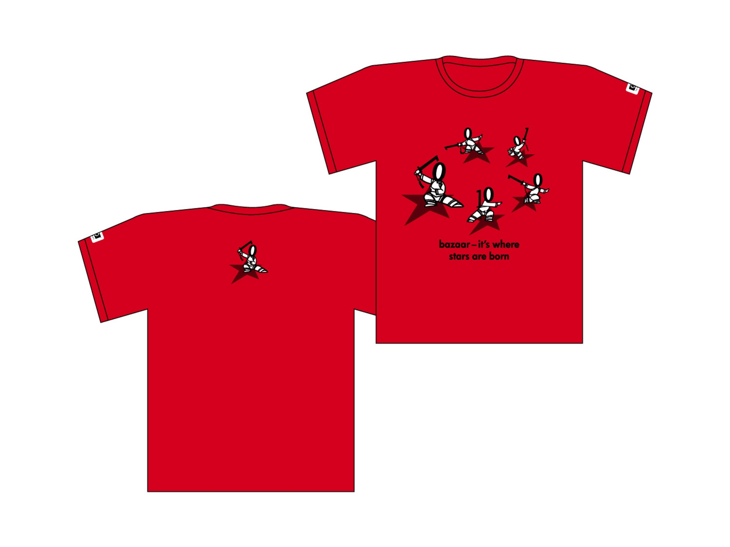 T-shirts for participants.  FRONT : 'bazaar—it's where stars are born'