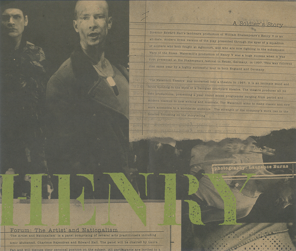 Henry V  programme book inside spread for  Forum: The Artist and Nationalism