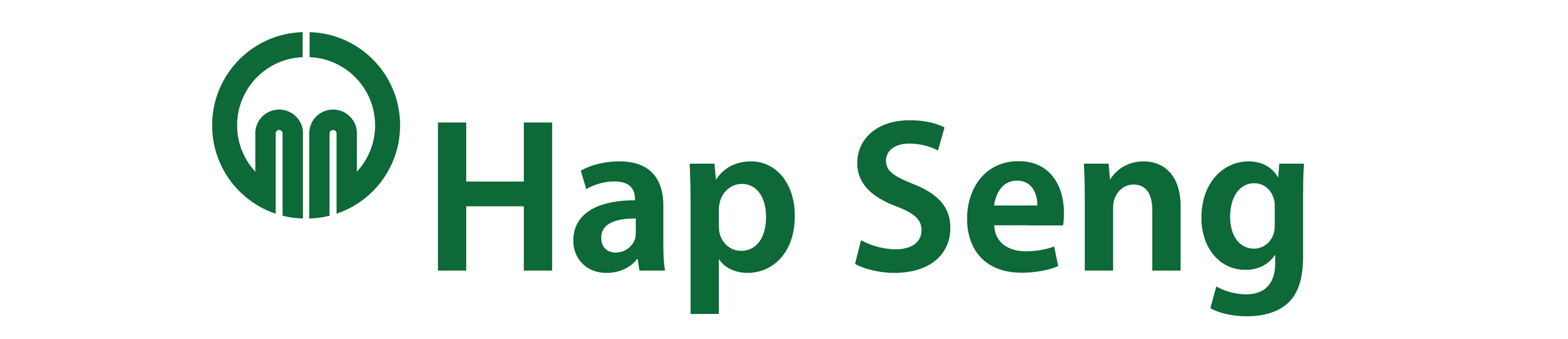 The final version. The symbol-mark has been strengthened to better match the bold Hap Seng typeface.