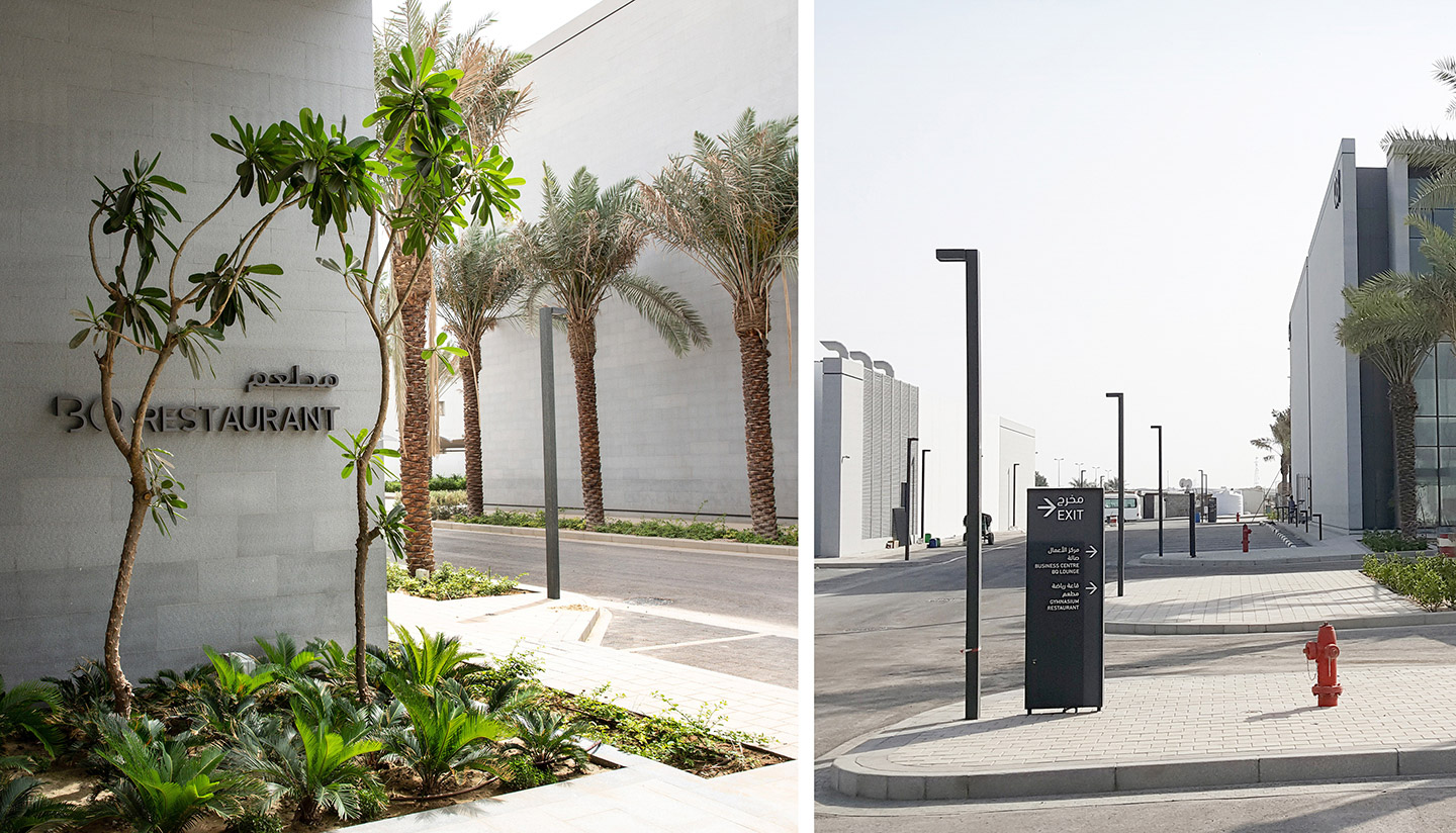 WAYFINDING & SIGNAGE  //  BQ The Business Quarter  // Situated within a sprawling land area of 103,000 m2, this premium business park, comprising eight buildings, is designed to house global corporations in the port city of Dammam, Saudi Arabia.  A collaboration with architects Urban Phenomena, Jeddah.