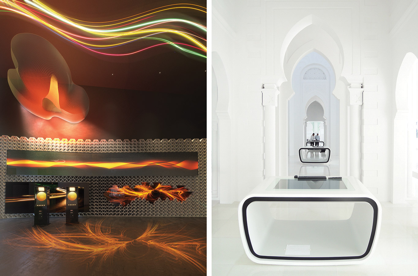 INTEGRATED DESIGN  //  World Expo Astana 2017  (left)   //  Muzium Masjid Sultan Abdullah —Islamic Art & Culture Museum (right)  //  Interior spaces can be sensual and mesmerising, or a study of calm and purity.