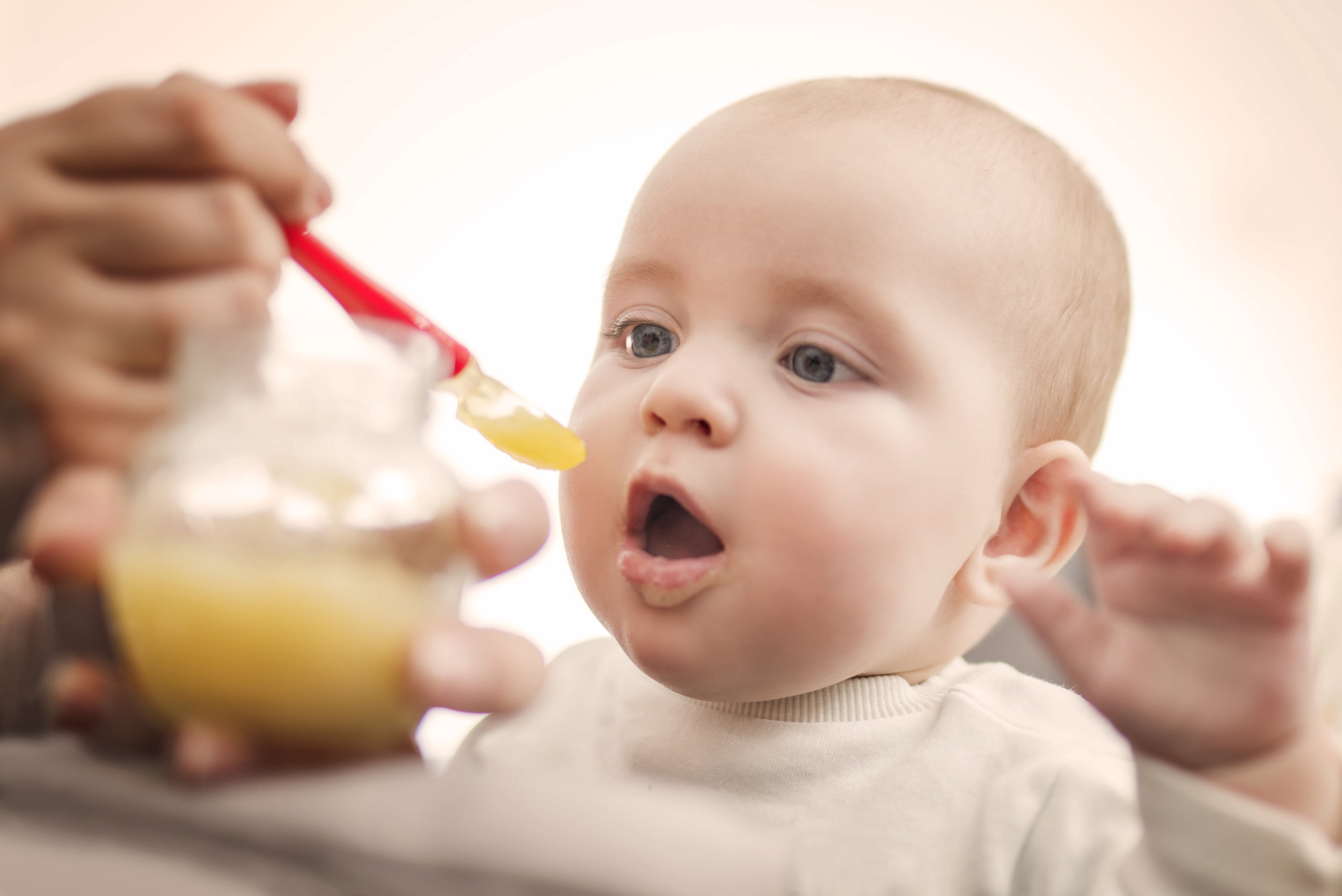 baby eating puree