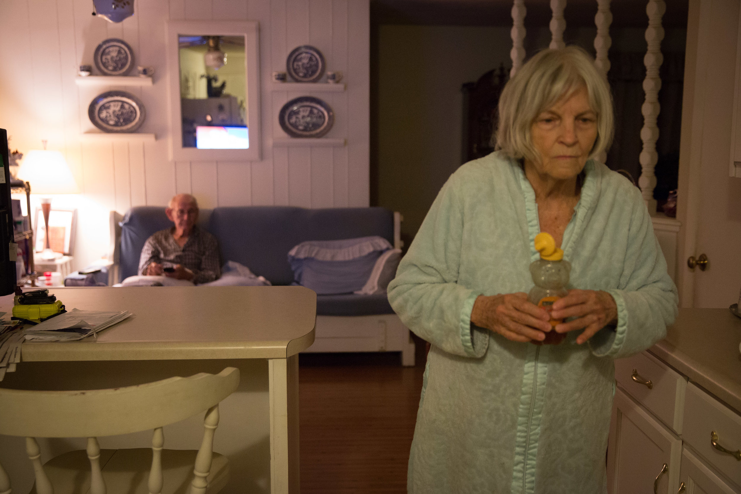 Ruth isn't able to cook much anymore because she has Alzheimer's. But at 5 a.m. each morning, she toasts a single Eggo waffle with butter and honey for Carl and one for herself.Carl also adds garlic powder to his waffle because he says it keeps him healthy.