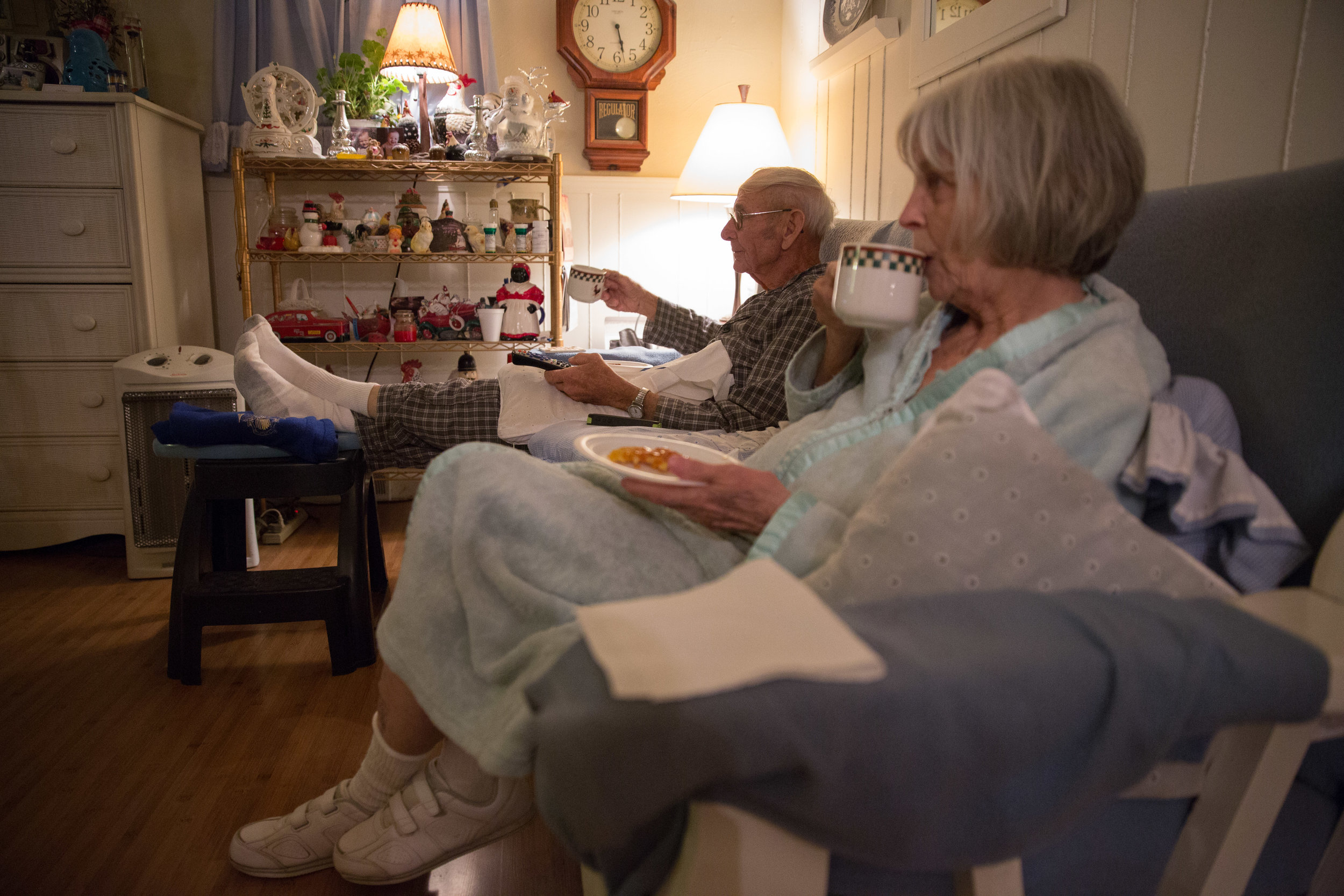 Carl and his wife Ruth just celebrated their 60th wedding anniversary. Carl usually wakes up at 2 a.m. and says morning is his favorite time of the day. Ruth isn't able to cook much anymore because she has Alzheimer's. But at 5 a.m. each morning, she toasts a single Eggo waffle with butter and honey for Carl and for herself.