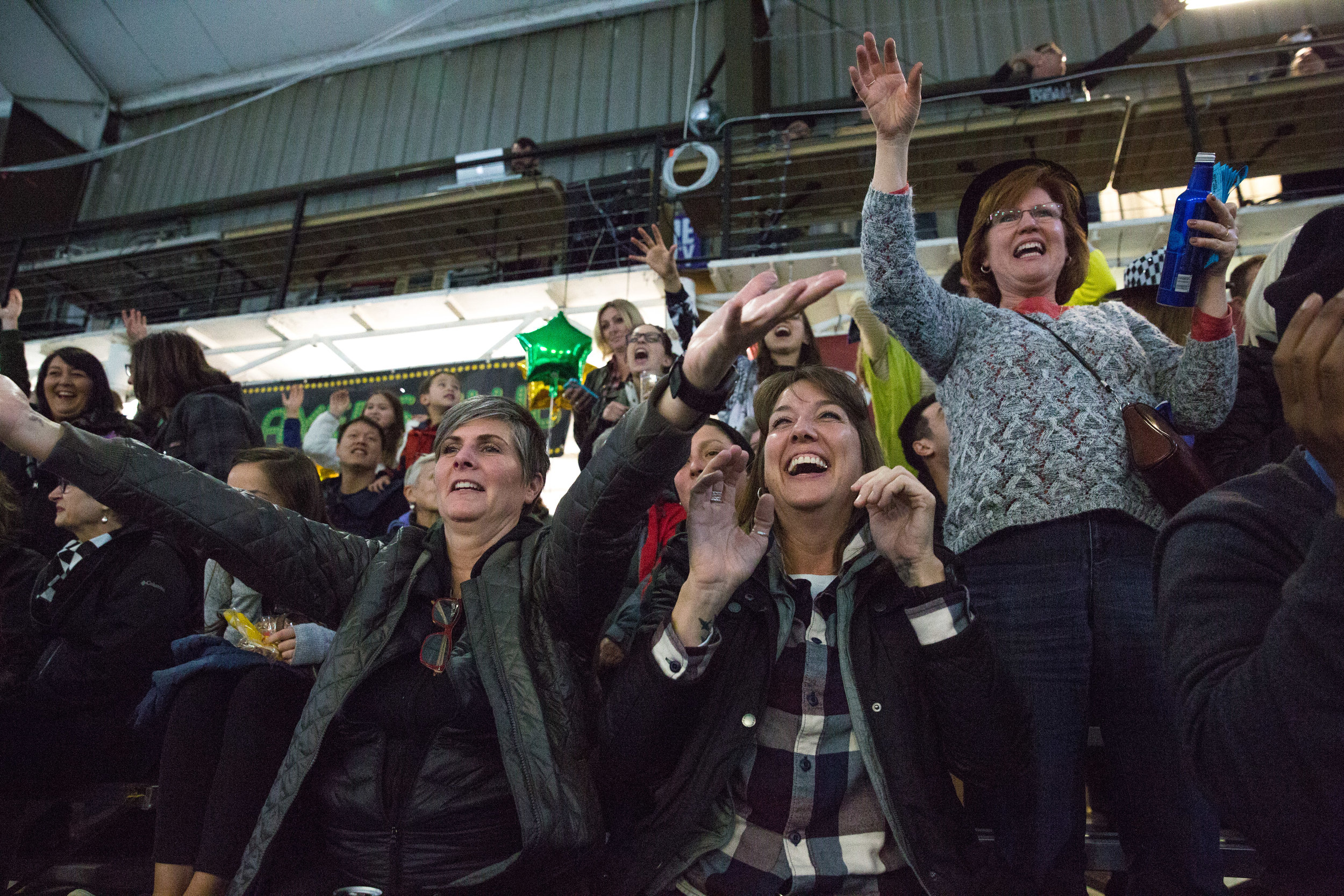 """Portland's Franz bakery, established in 1906, is a """"Hip Check"""" level sponsor of the Rose City Rollers. AT halftime, the crowd goes wild as emcees toss fresh loaves of Franz bread into the audience."""
