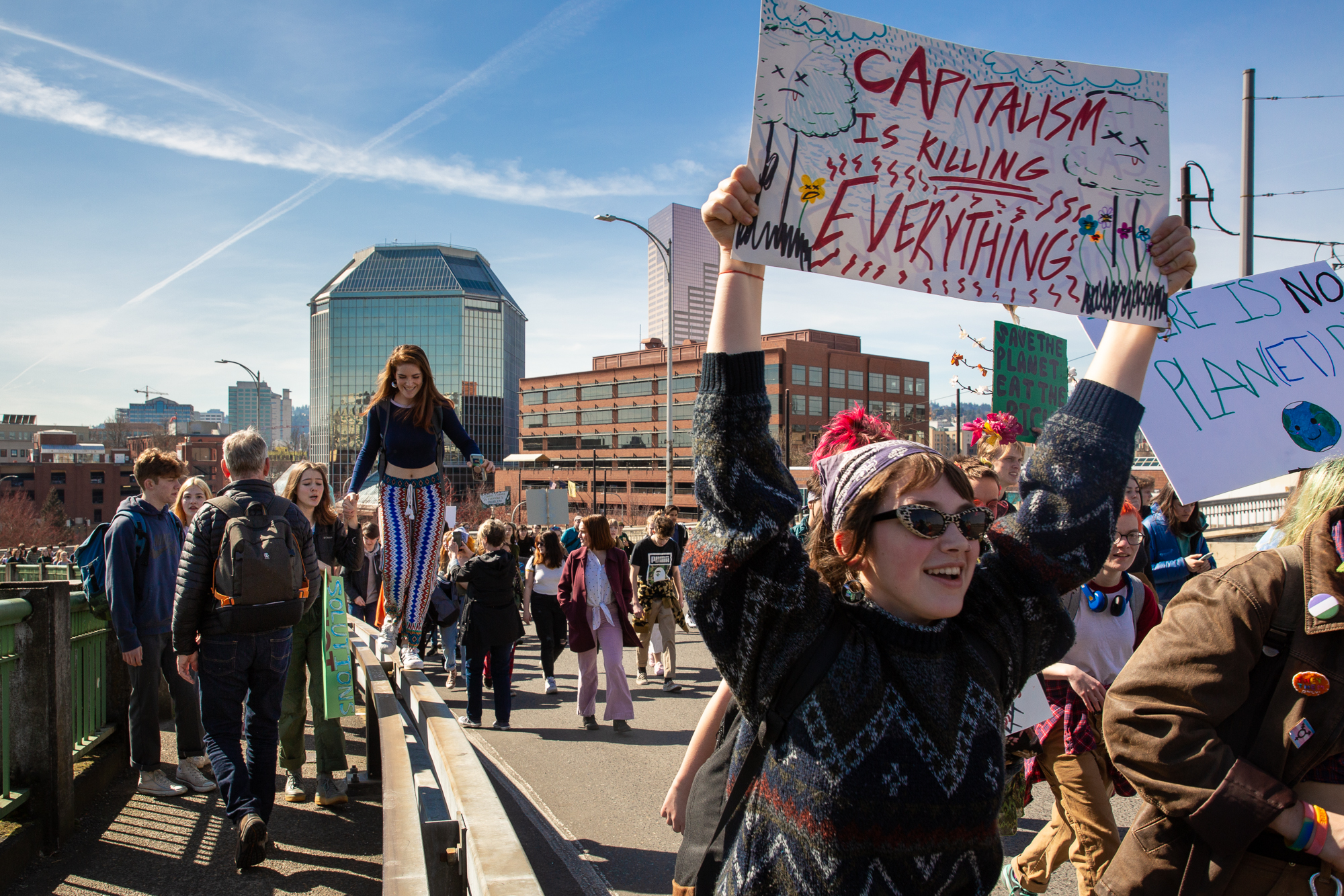 Students march for action against climate change in Northwest Portland on Friday, March 15, 2019. An estimated 1,500 to 2,000 Portland students took the day off to join the Global Climate Strike.