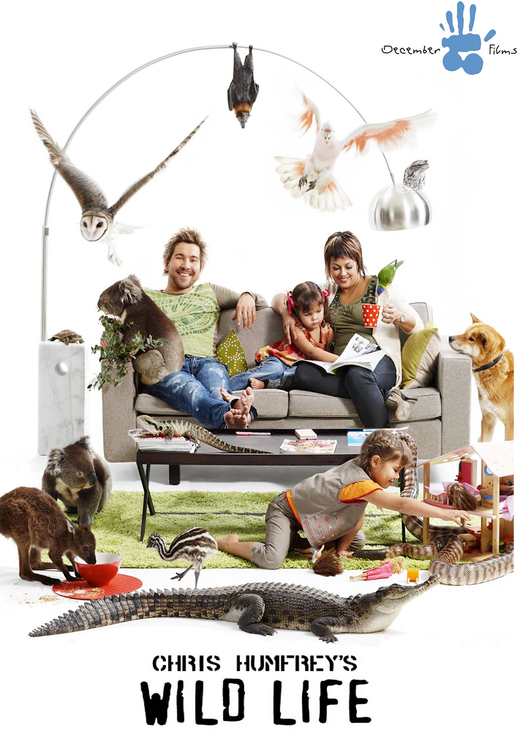 Chris Humfrey's Wild Life - 20113 x 26 minDecember Films/Film VictoriaChris Humfrey is a zoologist who lives with his young family in an idyllic bush haven in country Victoria. The Humfreys also share their home with a few pets – more than 2000 and each one of them needs care and attention 24/7. This isn't your average family home. It's a private zoo where human and animal sagas unfold on a daily basis. Chris and his wife Nicole work around the clockto keep their very extended family happy and healthy and manage their enthusiastic crew of Gen Y zookeepers/presenters. Follow Chris in this chaotic, animal-crazy series that captures the drama, the danger, the animal antics and the sheer exhilaration of Chris Humfrey's Wild Life.
