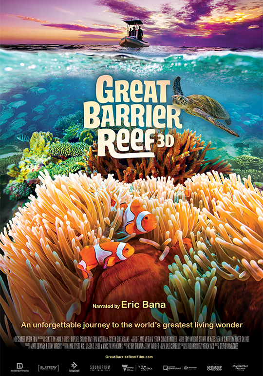 Great Barrier Reef 3D - 45 minGiant IMAX® screenDecember Media/Bio Pixel/Swinburne UniversityGreat Barrier Reef 3D is the story of the tiniest building blocks of life that form the world's largest living structure. A healthy reef is a balanced environment and a life in harmony. The film will be produced by December Media and Bio Pixel in association with Swinburne University of Technology. Executive produced by Emmy®-award-winning producer Tony Wright and Heath Watt, produced by Stephen Amezdroz and directed by Richard Fitzpatrick.