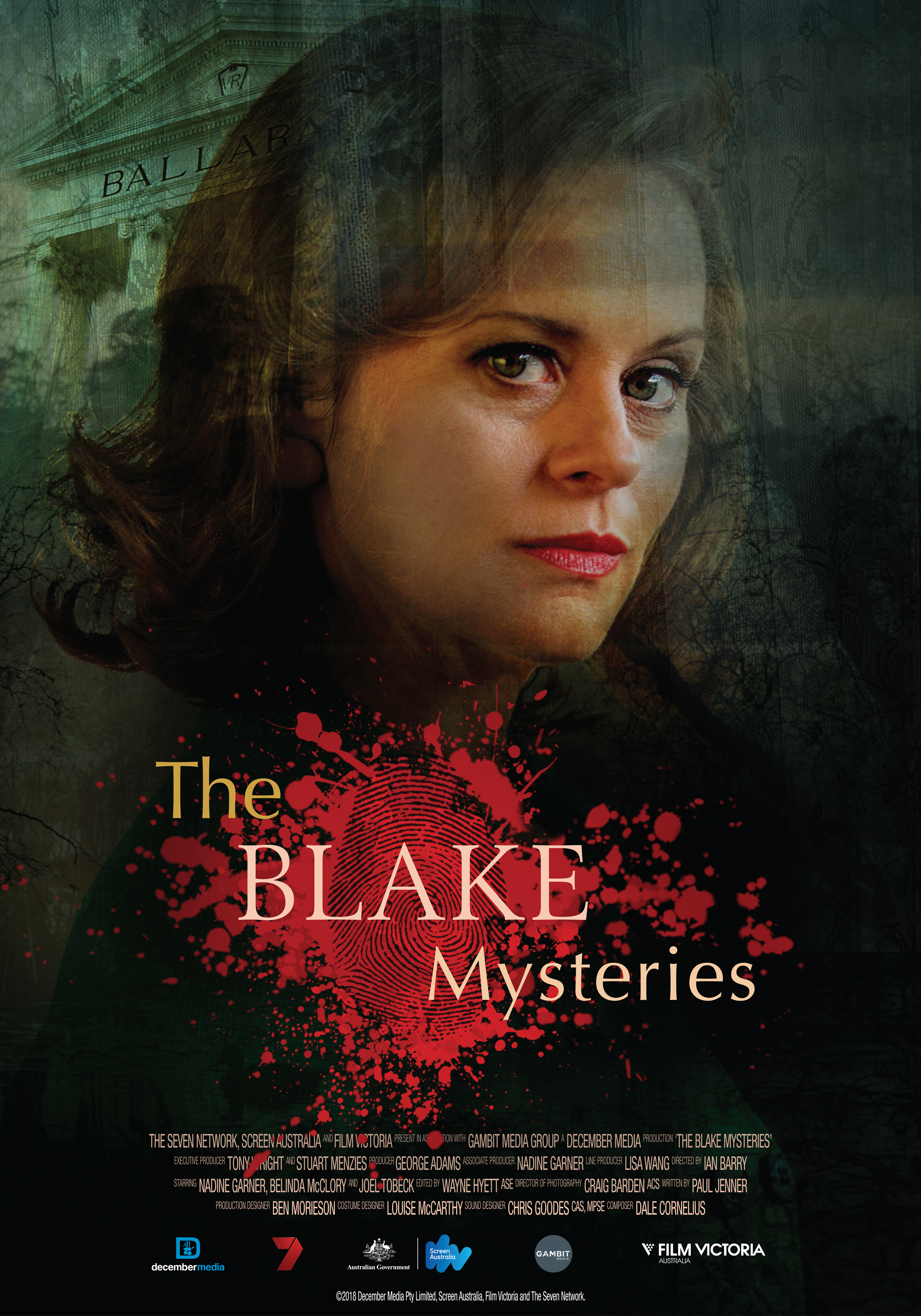 The Blake Mysteries PILOT - 20181 x 60 minDrama TelemovieDecember Media/Channel 7It's been almost three years since we last saw Jean and a hell of a lot has happened in that time. Jean and Blake were married for only 18 months when Blake went missing. Since then Jean has taken on her husband's mantle as, a solver of mysteries. Murder, mayhem and Jean Blake are a potent mix and anything can and will happen.