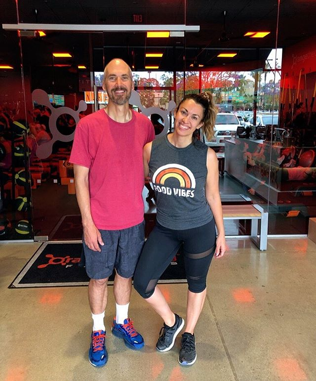 "Guess who just signed up for Orange Theory Fitness?! This girl!!! . Matt's been doing it for a couple months now so I thought, ""If he's already in the habit of going I should just go with him too!"" I mean he's the cutest accountability partner a girl could ask for. 😘 Also, exercising together will give us some more time to hang out together (which feels like a rarity nowadays since our 4 kids have so much going on). . Surround yourself with positive people who inspire you because they will uplift YOU to be a better person too!"