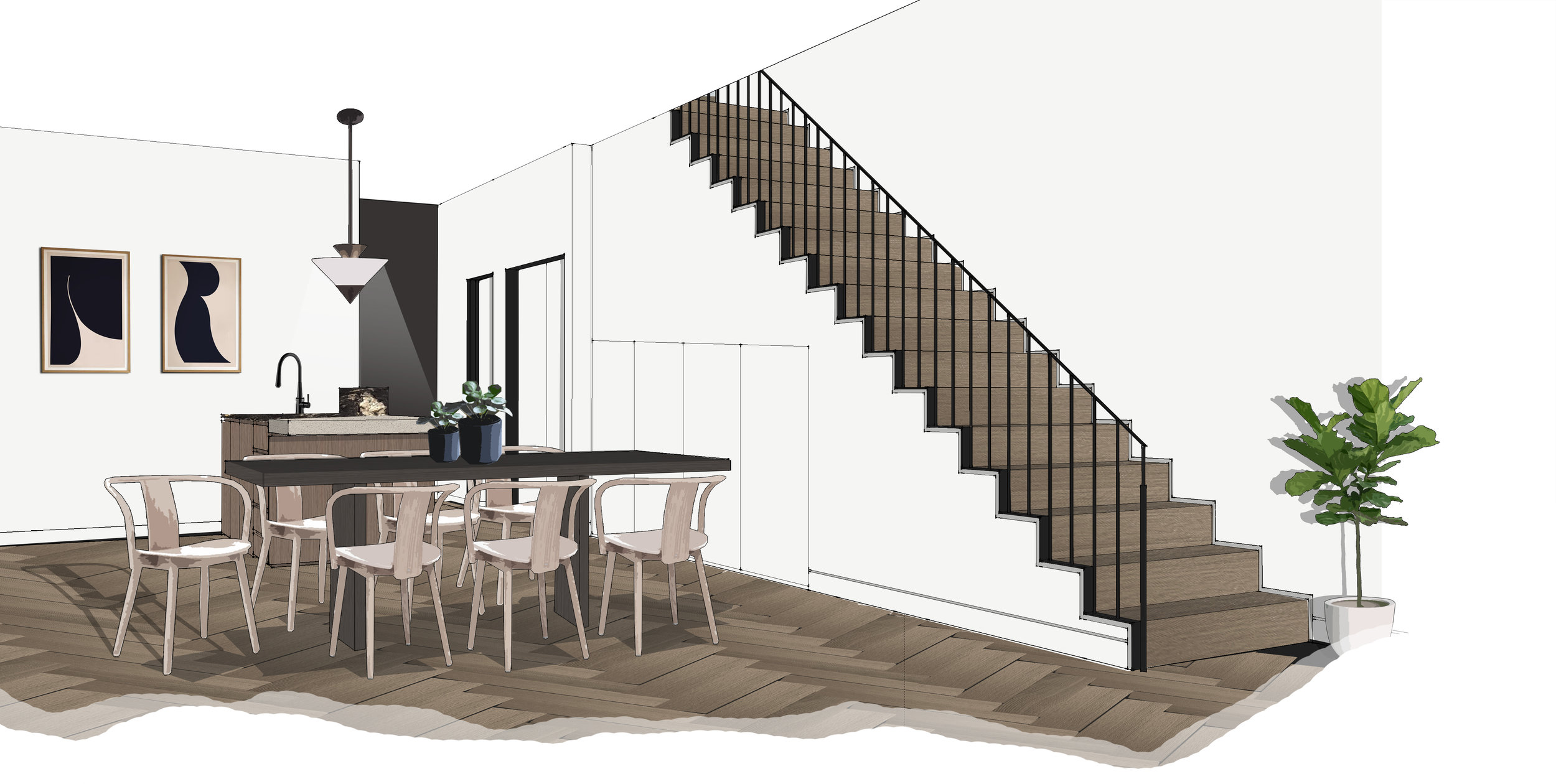65 Pakington_Townhouse 3_Ground Flr Stair Perspective.jpg