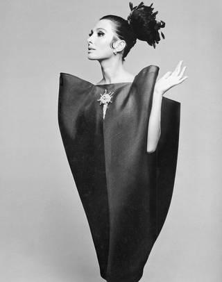 Alberta Tiburzi in 'envelope' dress by Cristóbal Balenciaga. Photograph by Hiro Wakabayashi for Harper's Bazaar, June 1967. © Hiro 1967