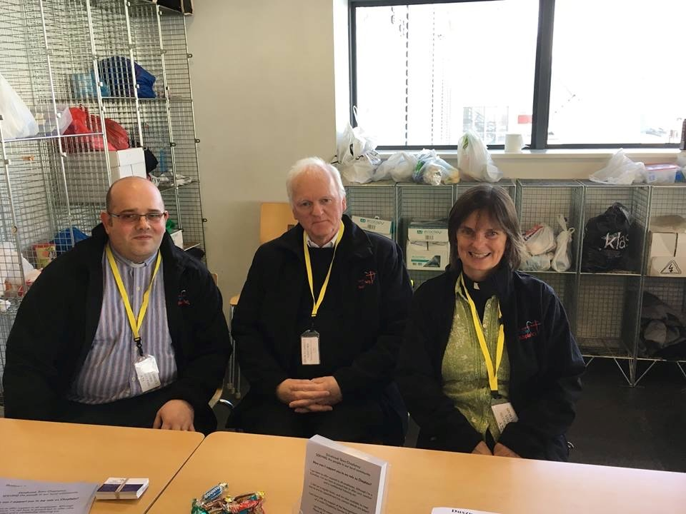 The chaplains together in Sports Direct. From left to right Rev. John Yarrien (Methodist Church), Fr Jonathan Cotton (RC Church), Rev Karen Bradley (CofE)