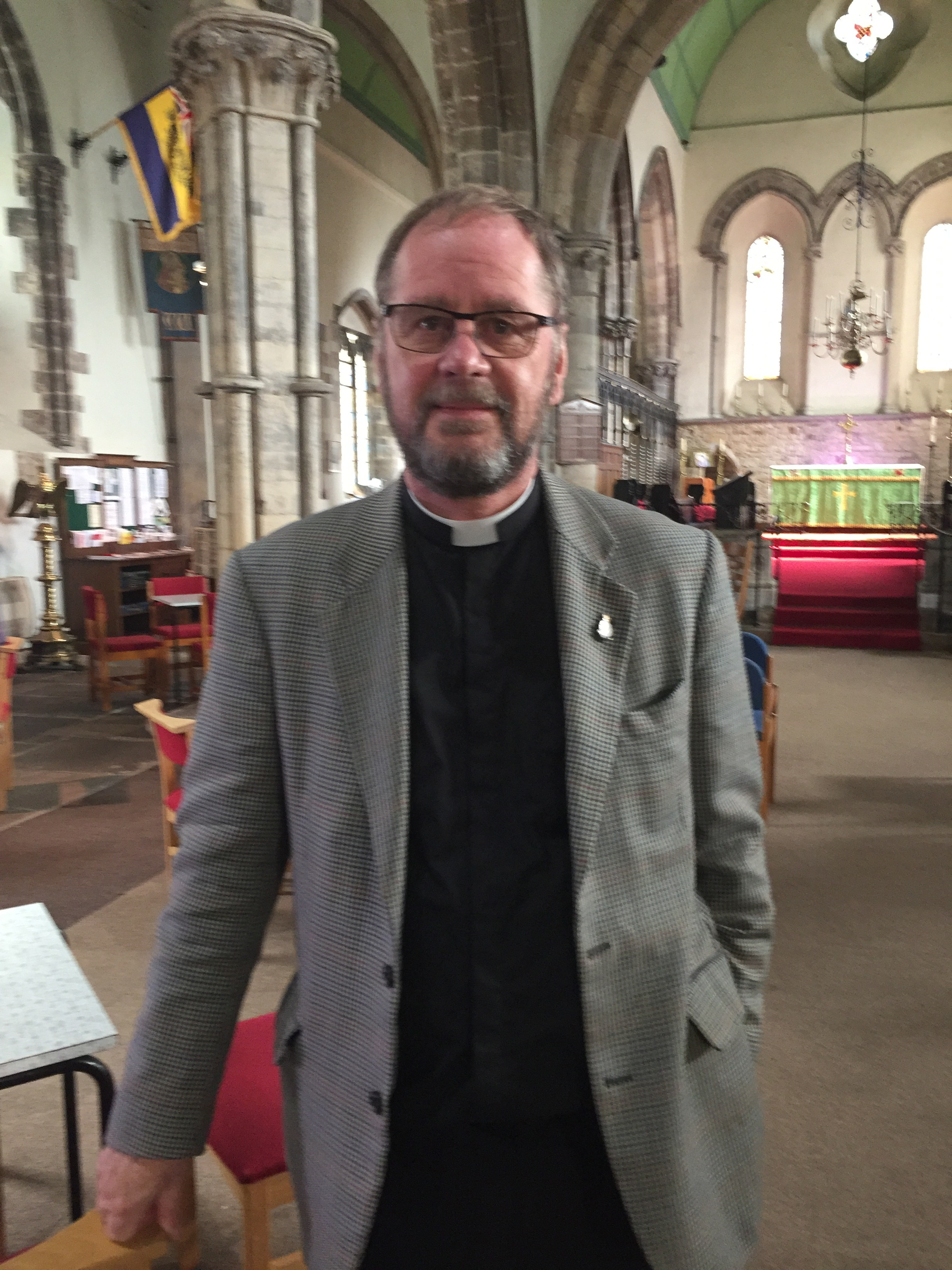 Revd Jeremy in his church in Lincoln