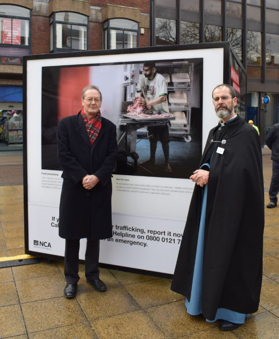 Bishop Alastair Redfern and Revd Dr Paul Overend visit the NCA's Invisible People exhibition.