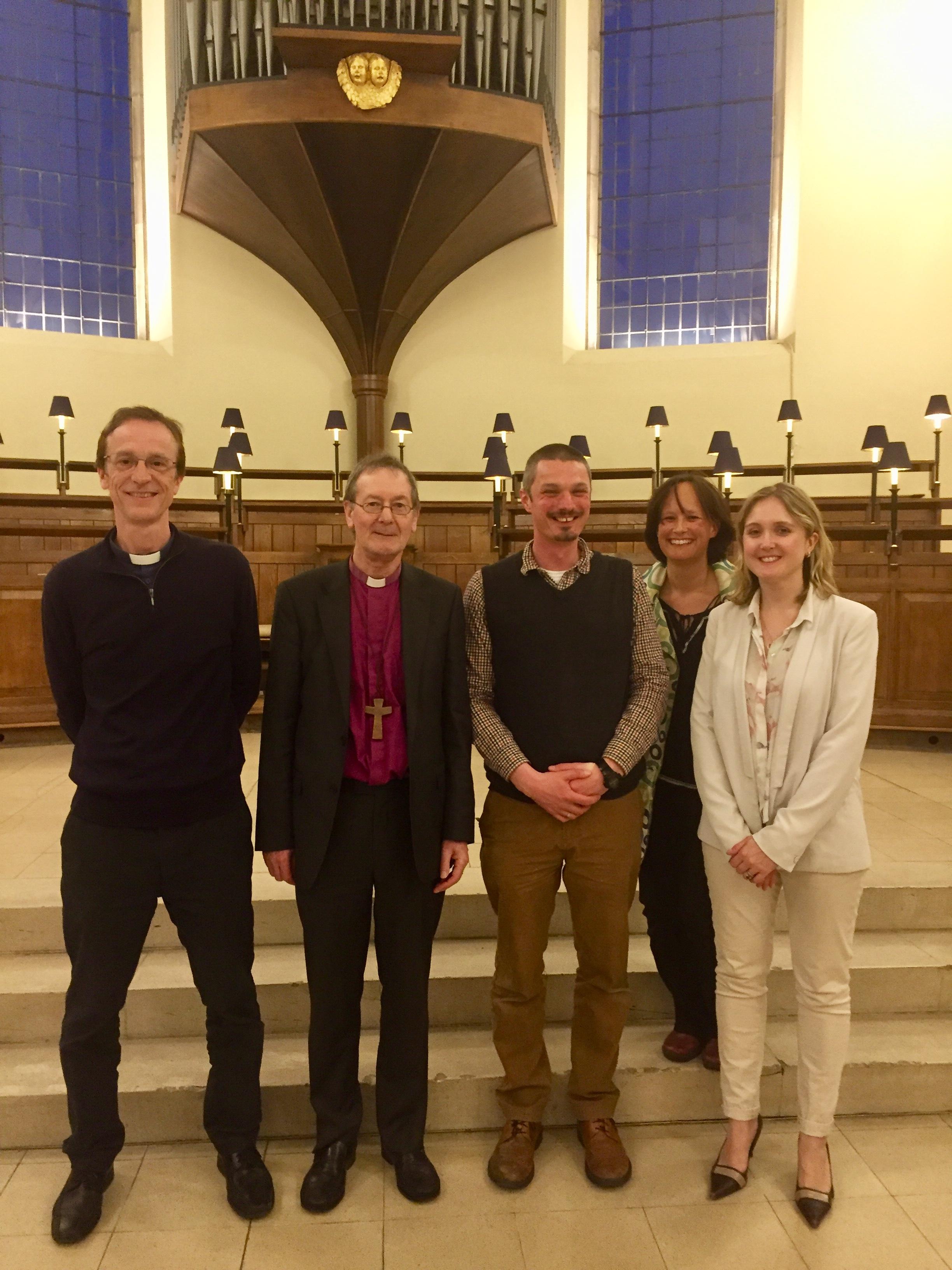 The team (l-r): Revd Liam O'Boyle (S&N), Bishop Alastair (Derby), James Henderson (Lichfield), Alison Gardner (S&N), Pippa Rowen (Derby)