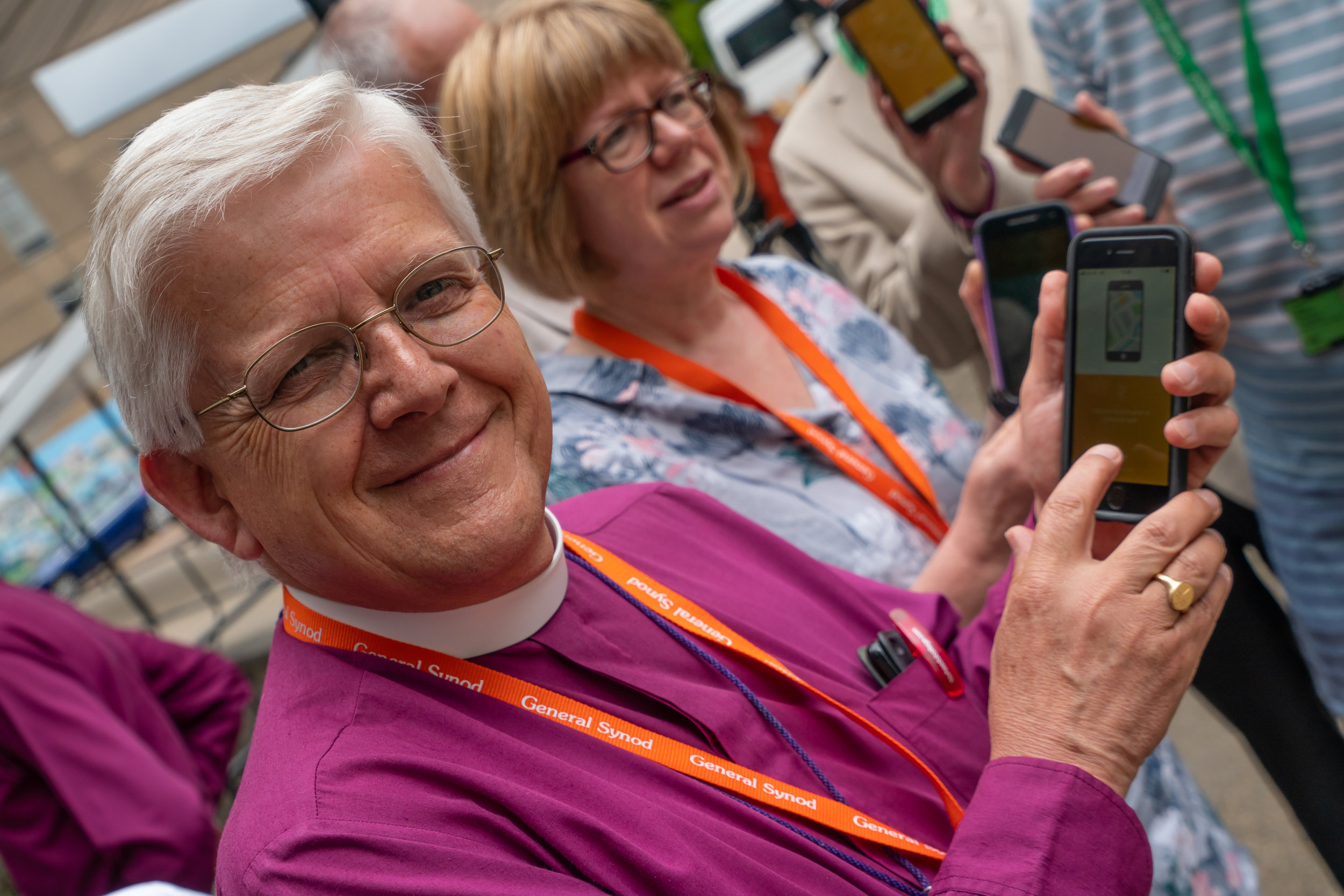 The Bishops of Blackburn and London try out the app