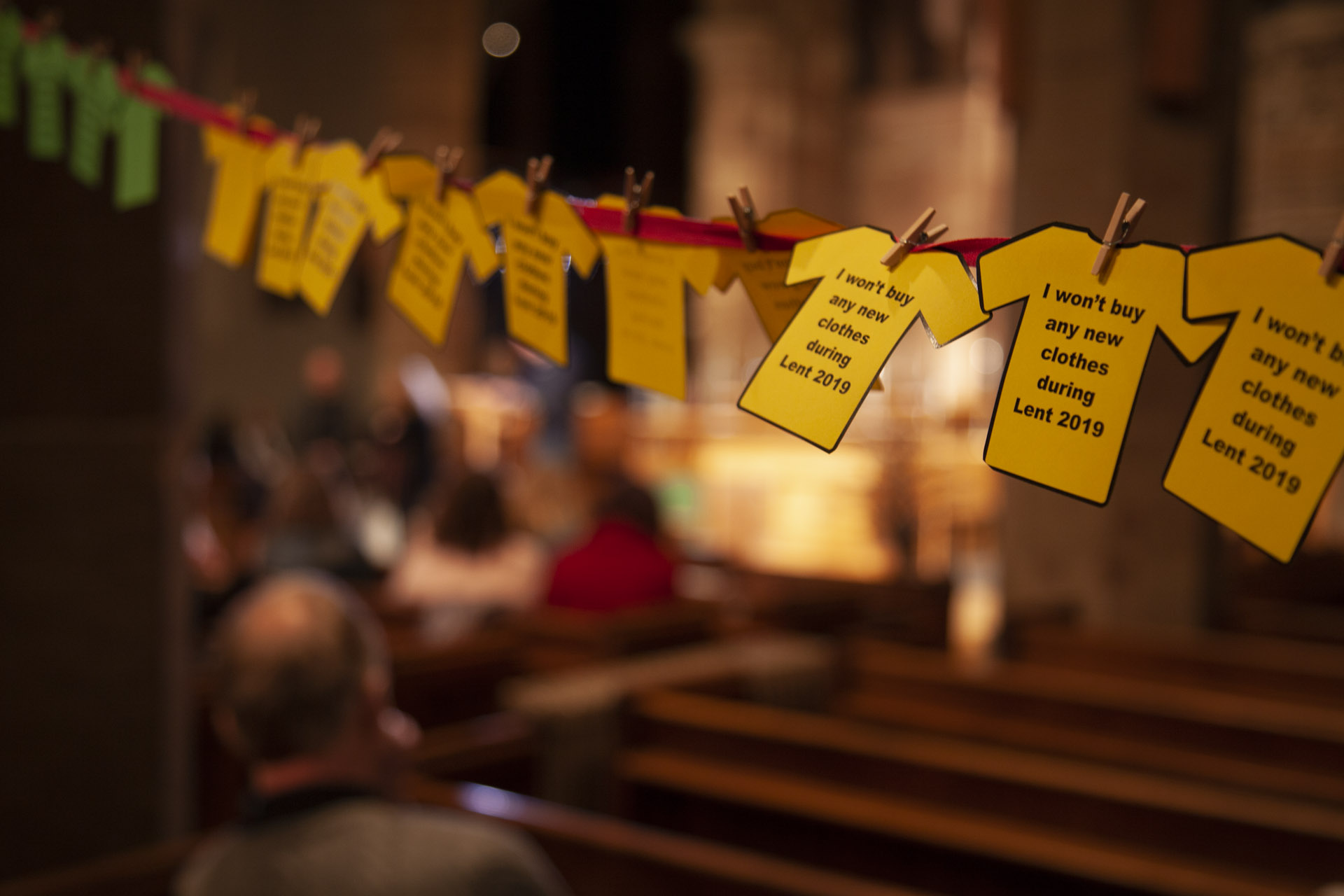The pledges were arranged around the church on washing lines