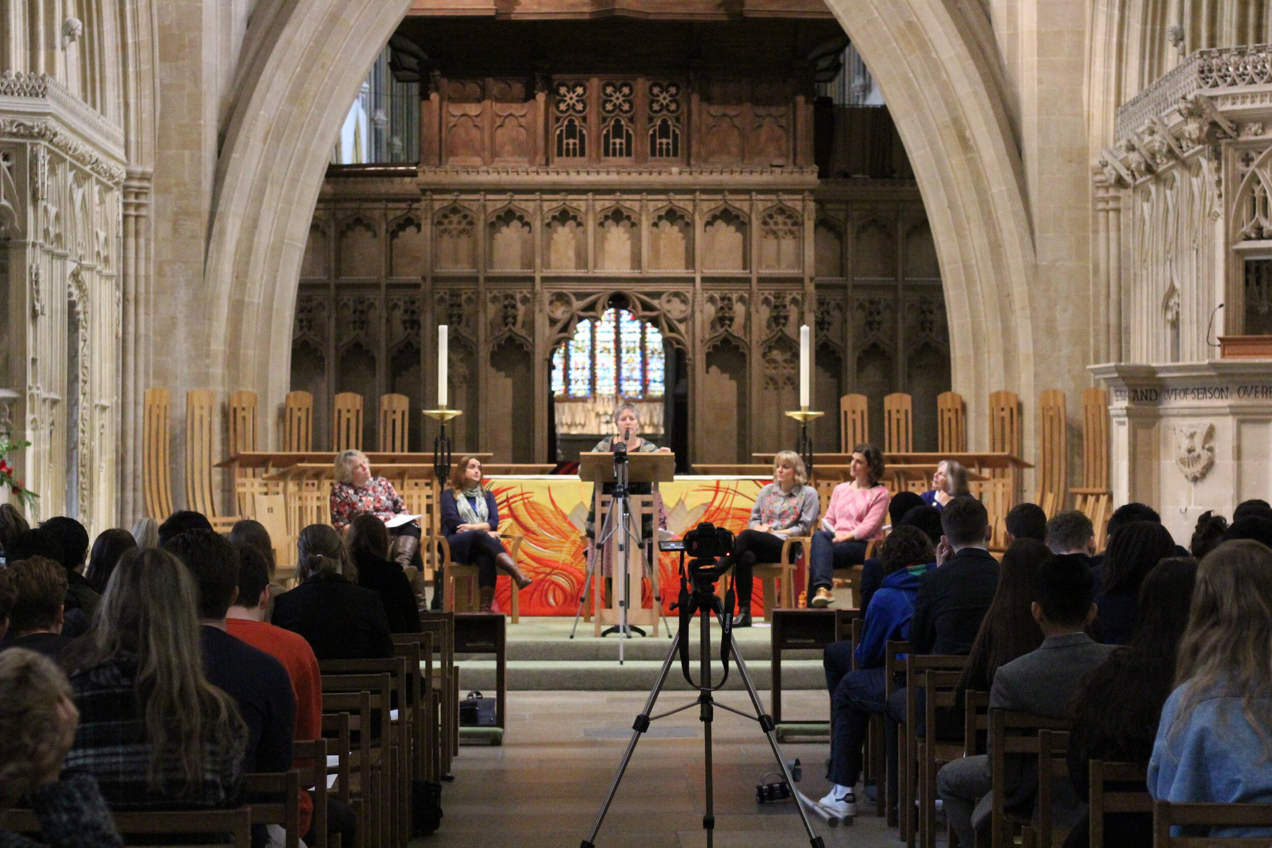 An event in Wells Cathedral with sixth form pupils from local schools.