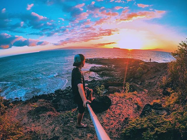 Is this real life? 🌅🌋🌊 . . . Used my GoPro Remo on a @gopole to capture this shot in WDR photo mode. . #gopro #maui #sunset #gopole #makena #bigbeach #mauilife #hawaii #goprophotography #goprouniverse #betheaction #paradise #mauibeach #mauisunset #goprolife #beahero #hero5 #goprodreams #808 #goproselfie