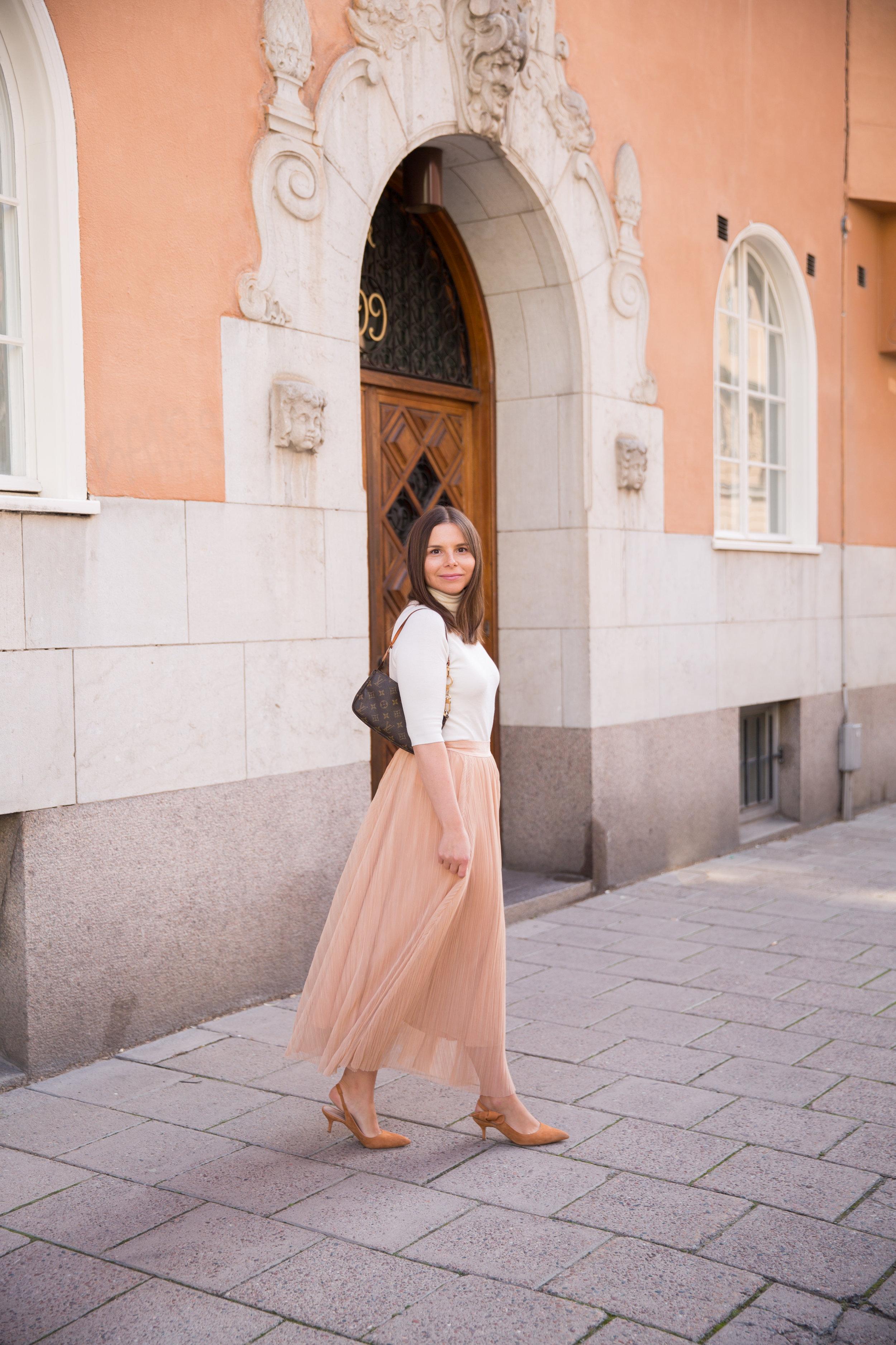 Angelica Aurell plisserad kjol tyllkjol polotroja polotroja.jpg