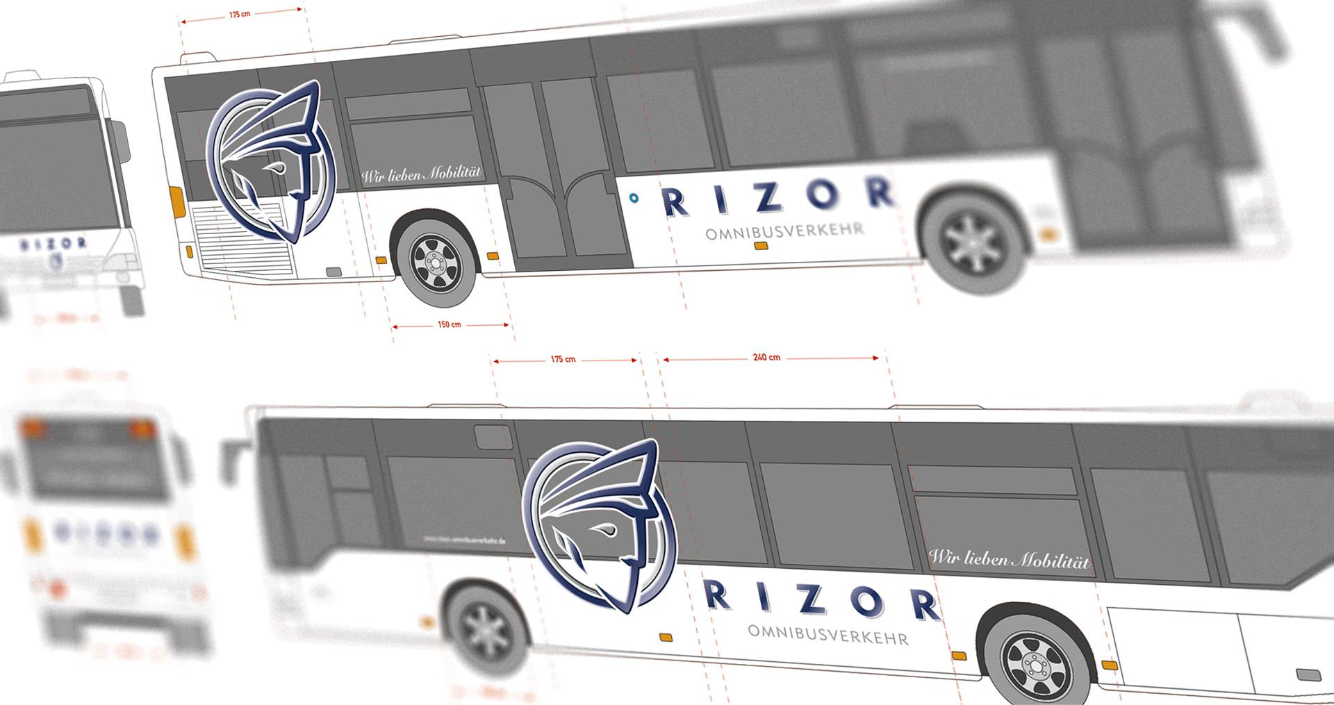 Fahrzeugbeschriftung »Linienbus Rizor«