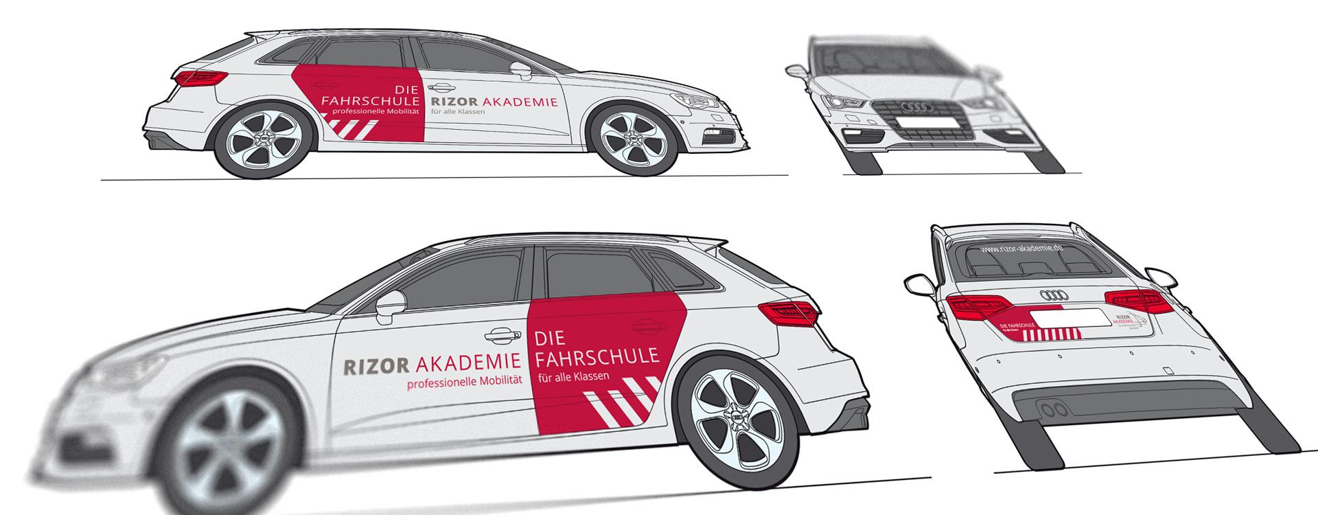 Fahrzeugbeschriftung PKW »Rizor Akademie«
