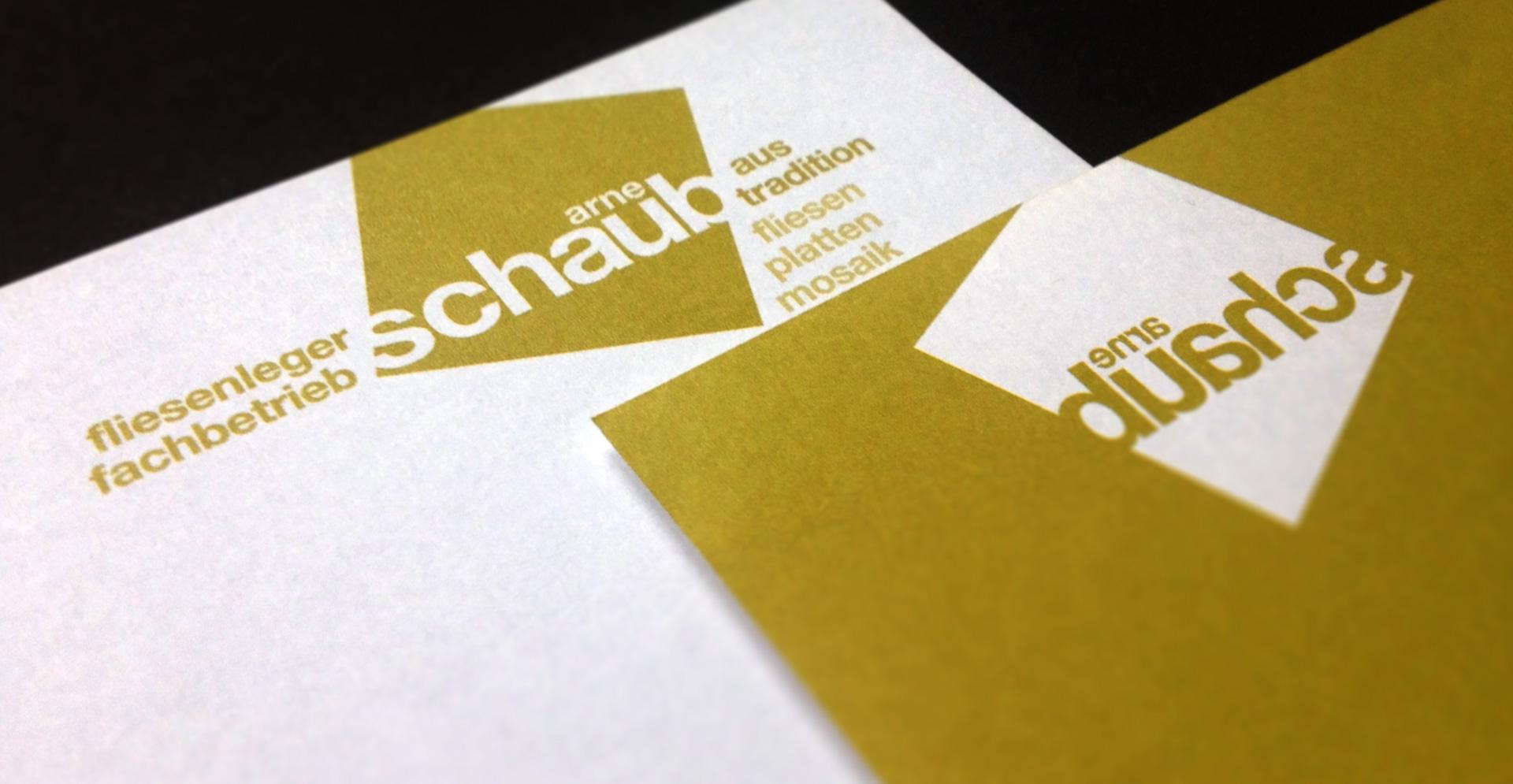Arne Schaub Berlin, Wort-Bildmarke und Geschäftspapiere